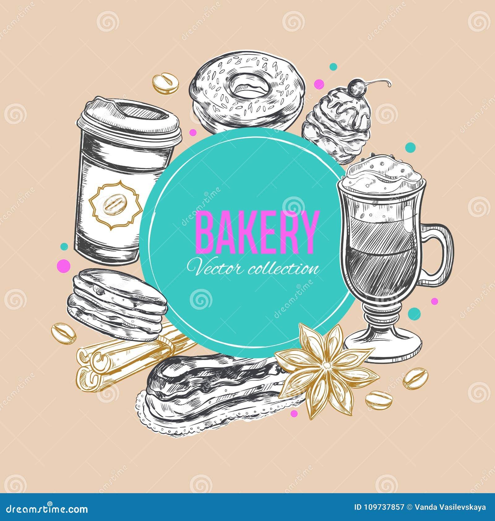 Etiqueta 3 del café y de la panadería