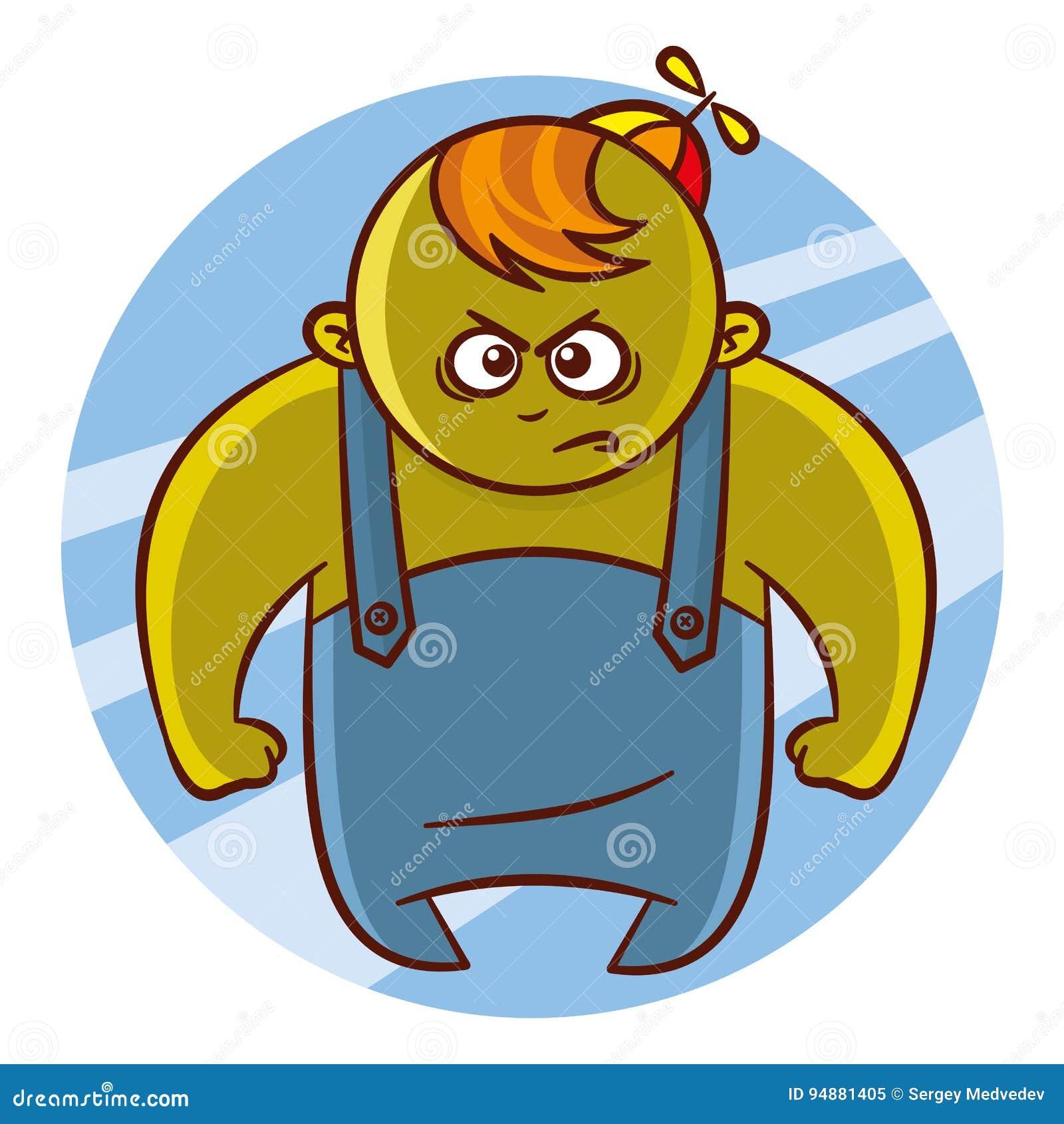 Etiqueta do caráter do menino do super-herói dos desenhos animados