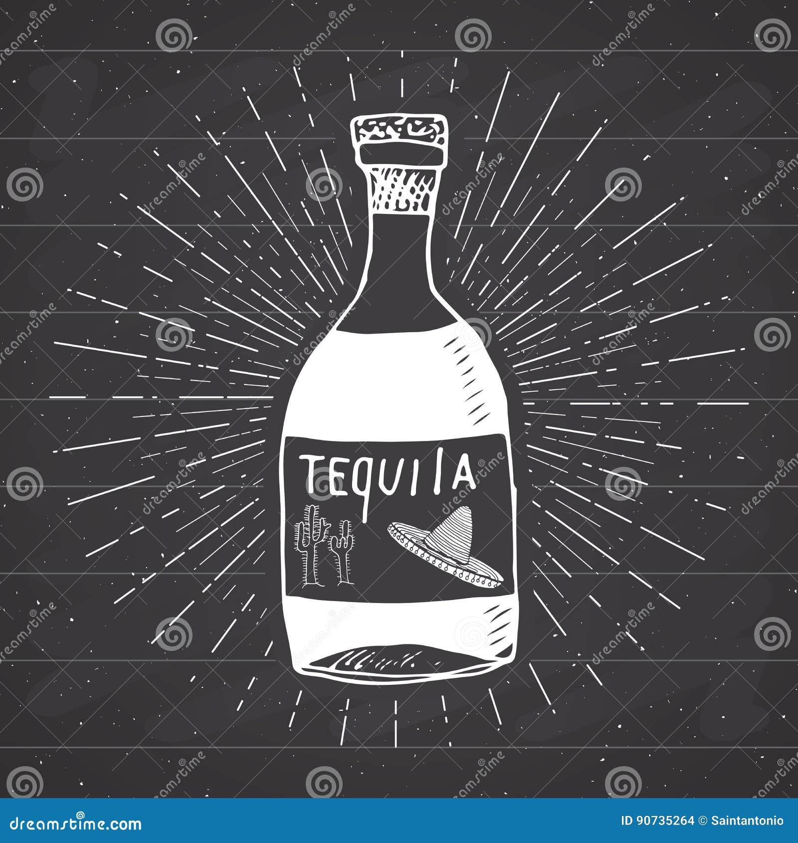 A etiqueta do vintage, garrafa tirada mão do esboço tradicional mexicano da bebida do álcool do tequila, grunge textured o crachá