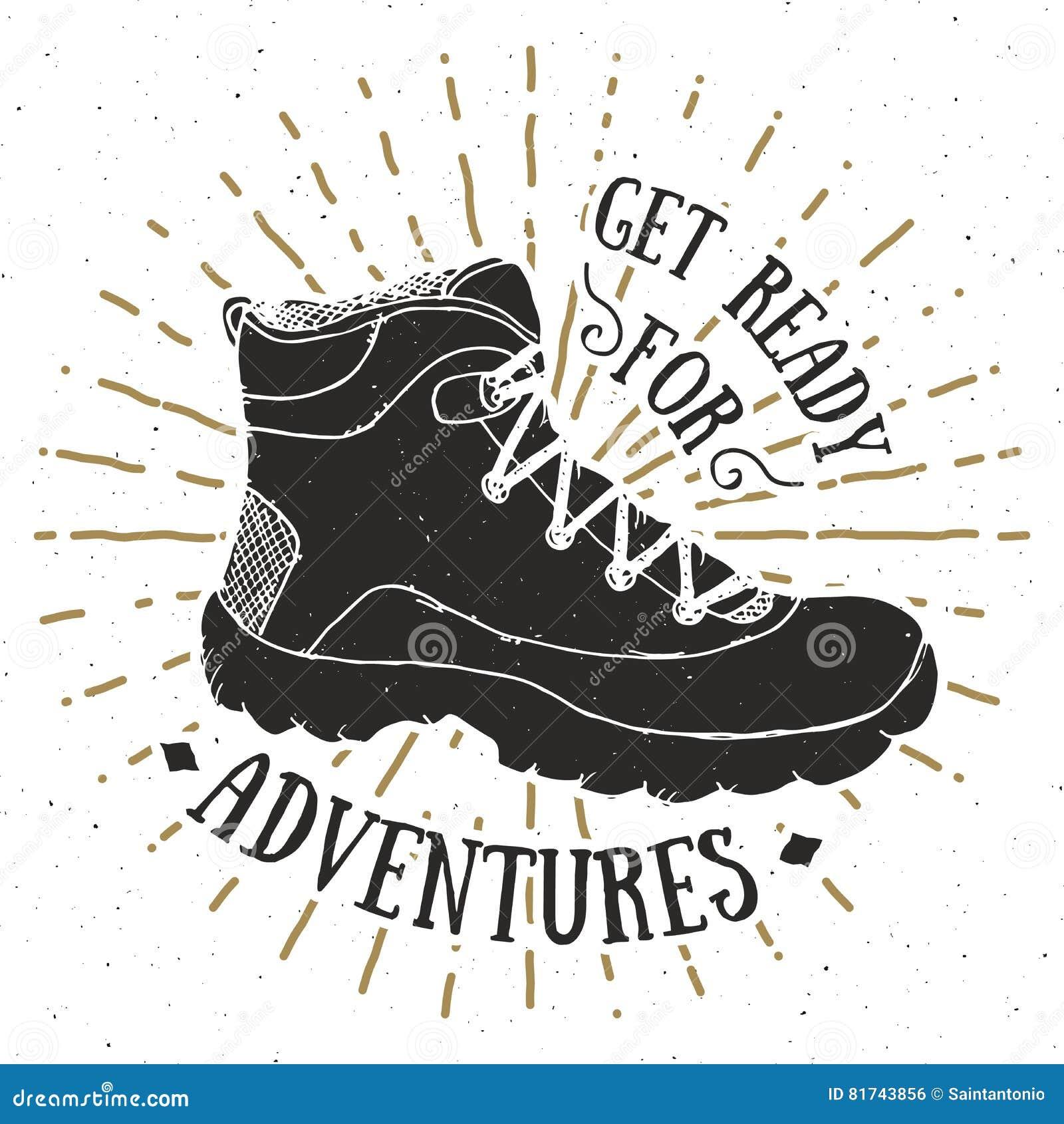 Etiqueta do vintage, projeto crachá ou da tipografia retro tirada mão textured grunge do t-shirt com caminhada da sapata, illustr