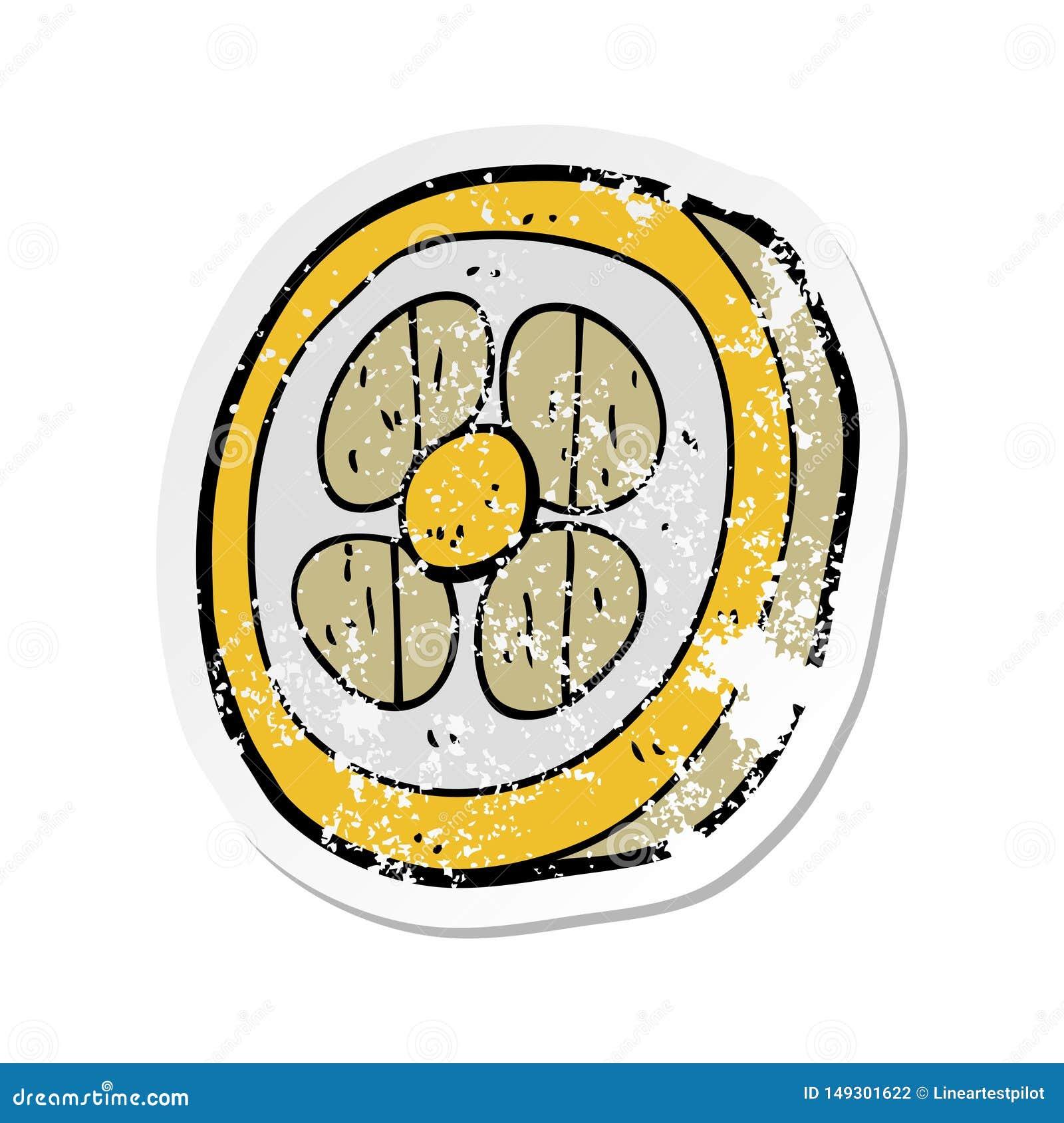 Etiqueta engomada apenada retra de un escudo medieval de la historieta