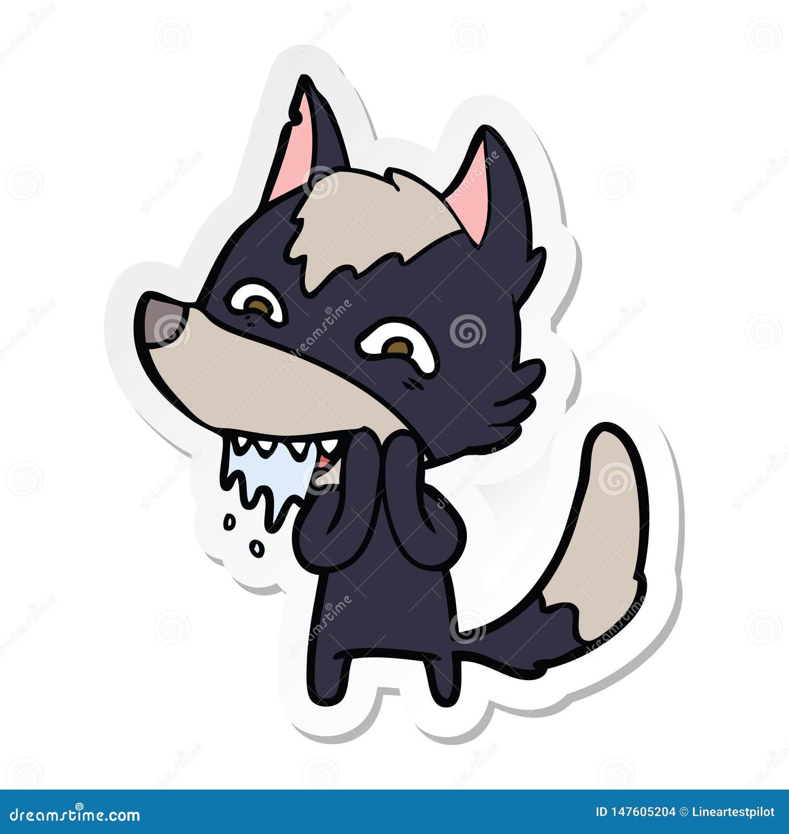 Etiqueta engomada de un lobo hambriento de la historieta
