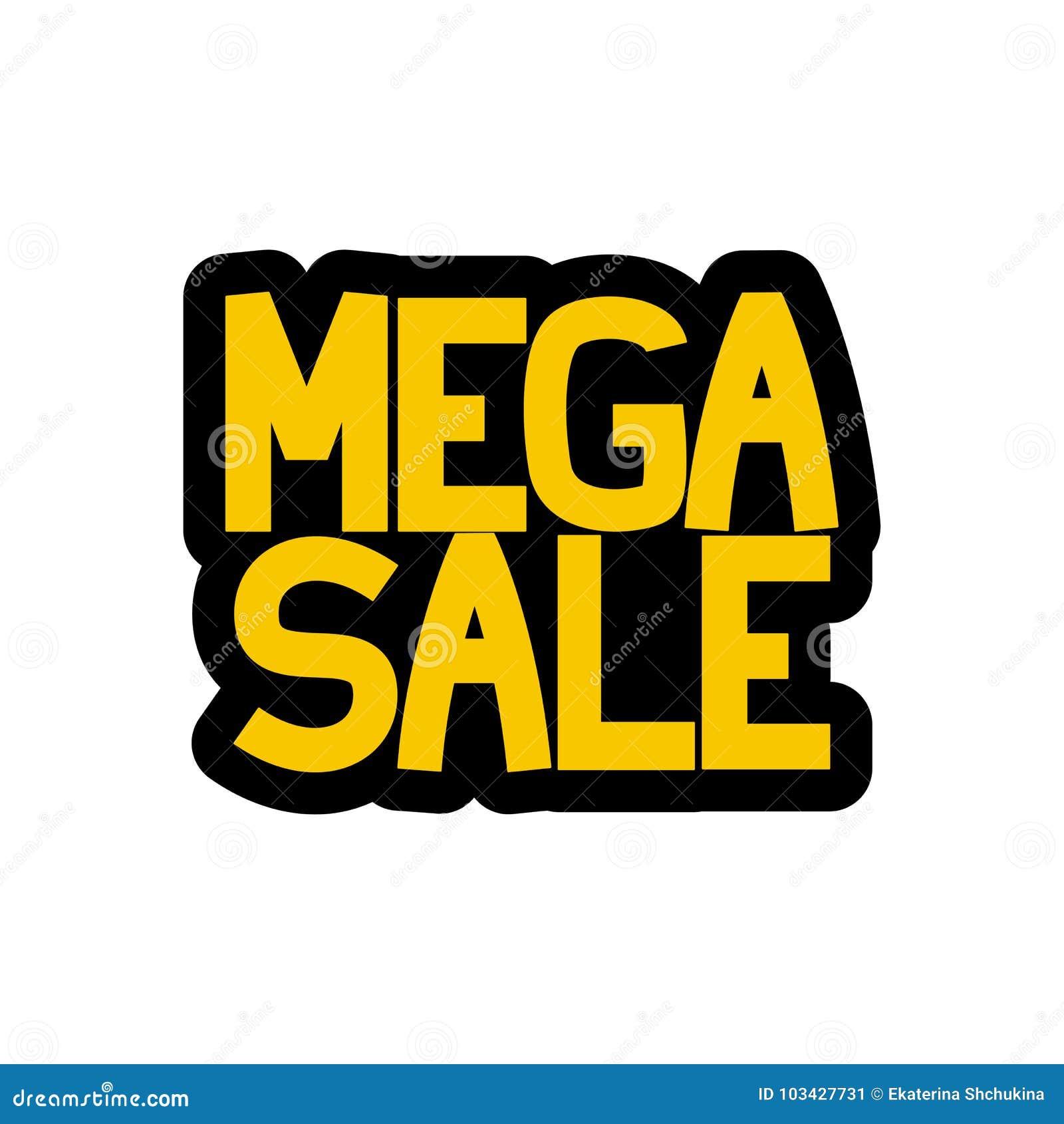 Etiqueta engomada mega de la venta