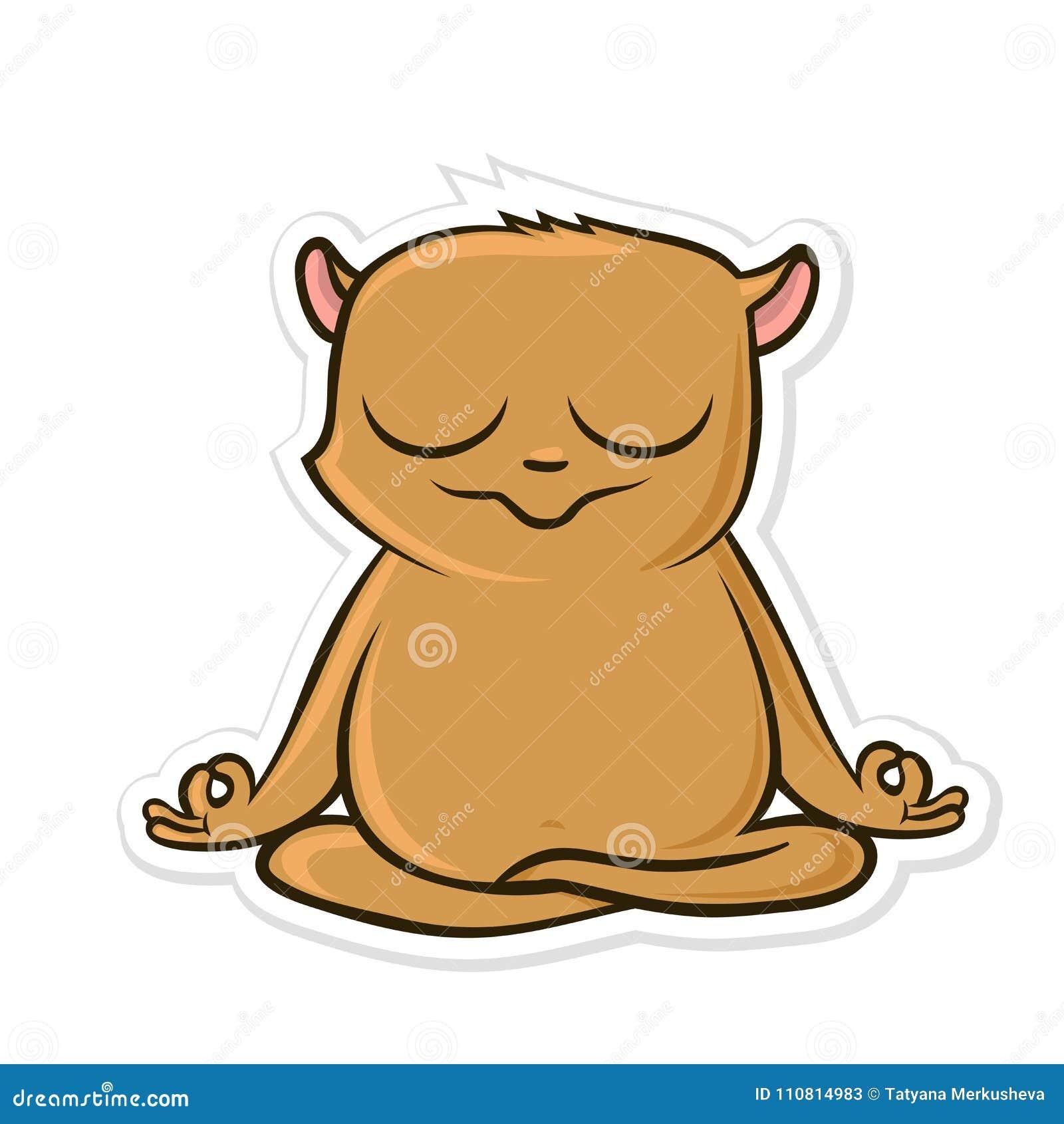 Etiqueta engomada para el mensajero con el animal divertido Yoga practicante del hámster, sentándose en la posición de Lotus Ilus
