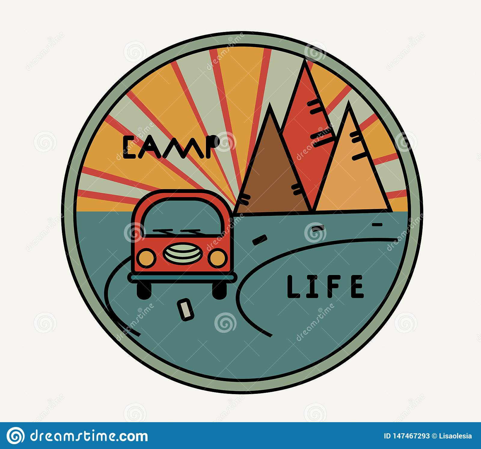 Etiqueta engomada redonda con la furgoneta del vintage en estilo retro Vida del campo de la inscripci?n El camino, el sol en las