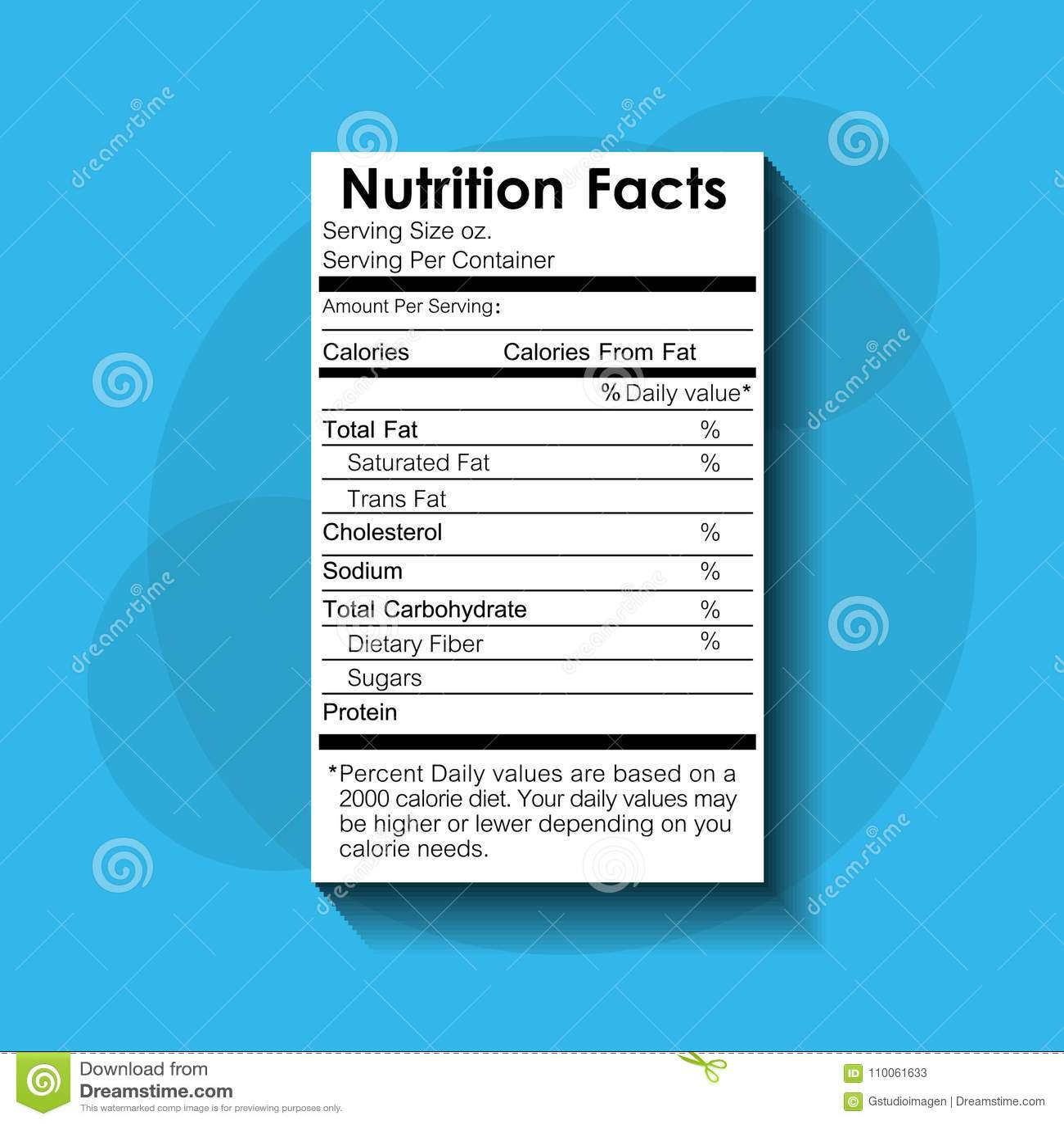 Etiqueta estándar recomendada comida de los hechos de la nutrición