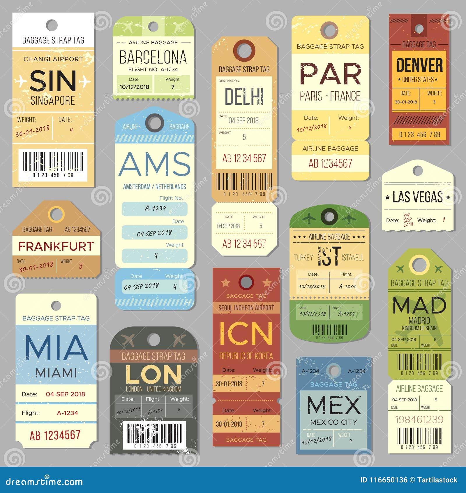 Etiqueta ou etiqueta velha da bagagem com símbolo do registro do voo Grupo isolado do vetor das etiquetas e dos bilhetes de bagag