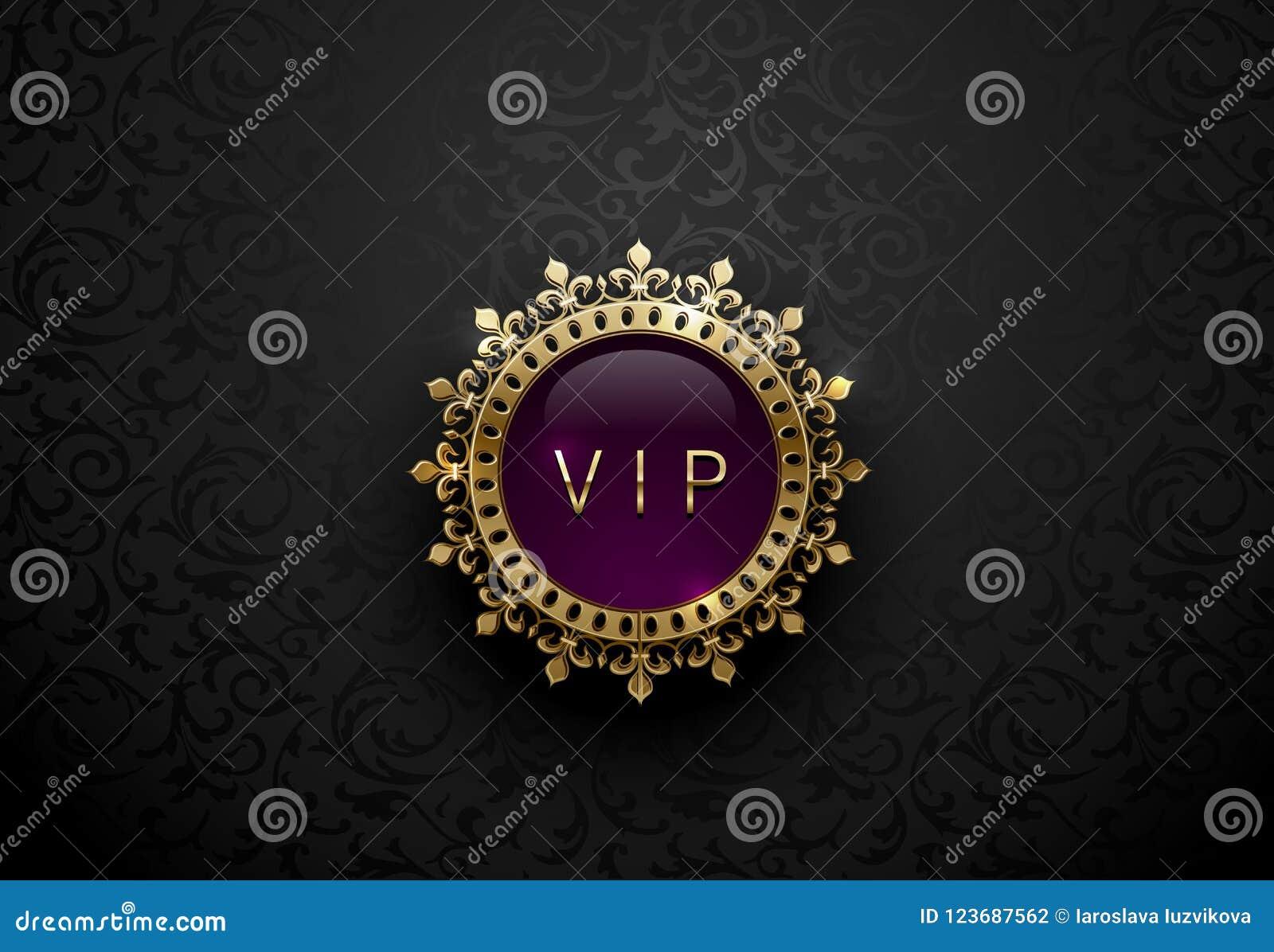 Etiqueta púrpura del Vip con la corona de oro redonda de la cuaderna en fondo floral negro Plantilla superior real brillante oscu