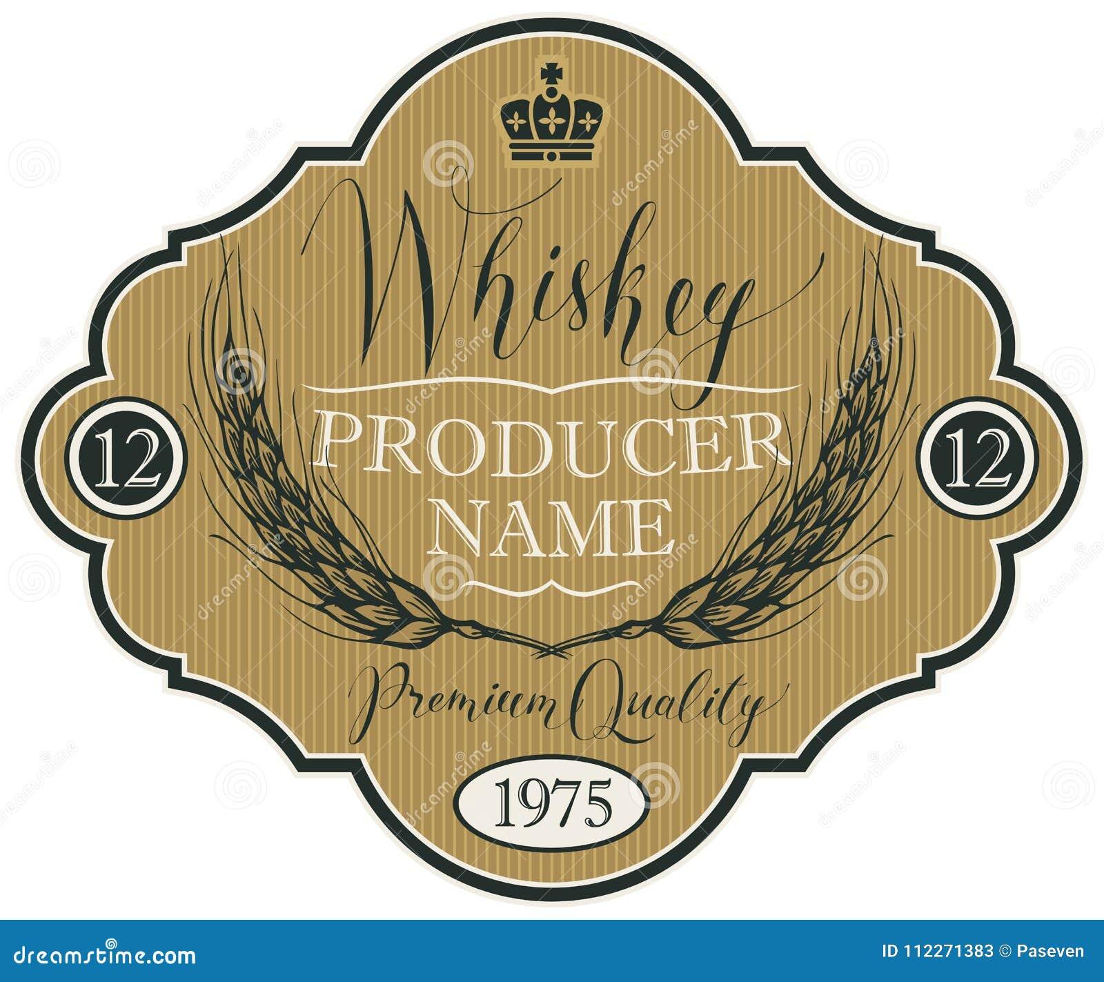Etiqueta para el whisky con los oídos de la cebada