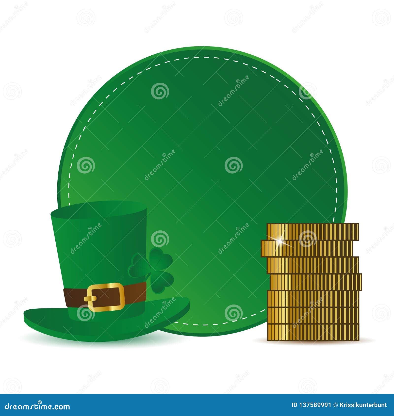 Etiqueta redonda verde con el trébol del sombrero y monedas de oro para el día del St Patricks