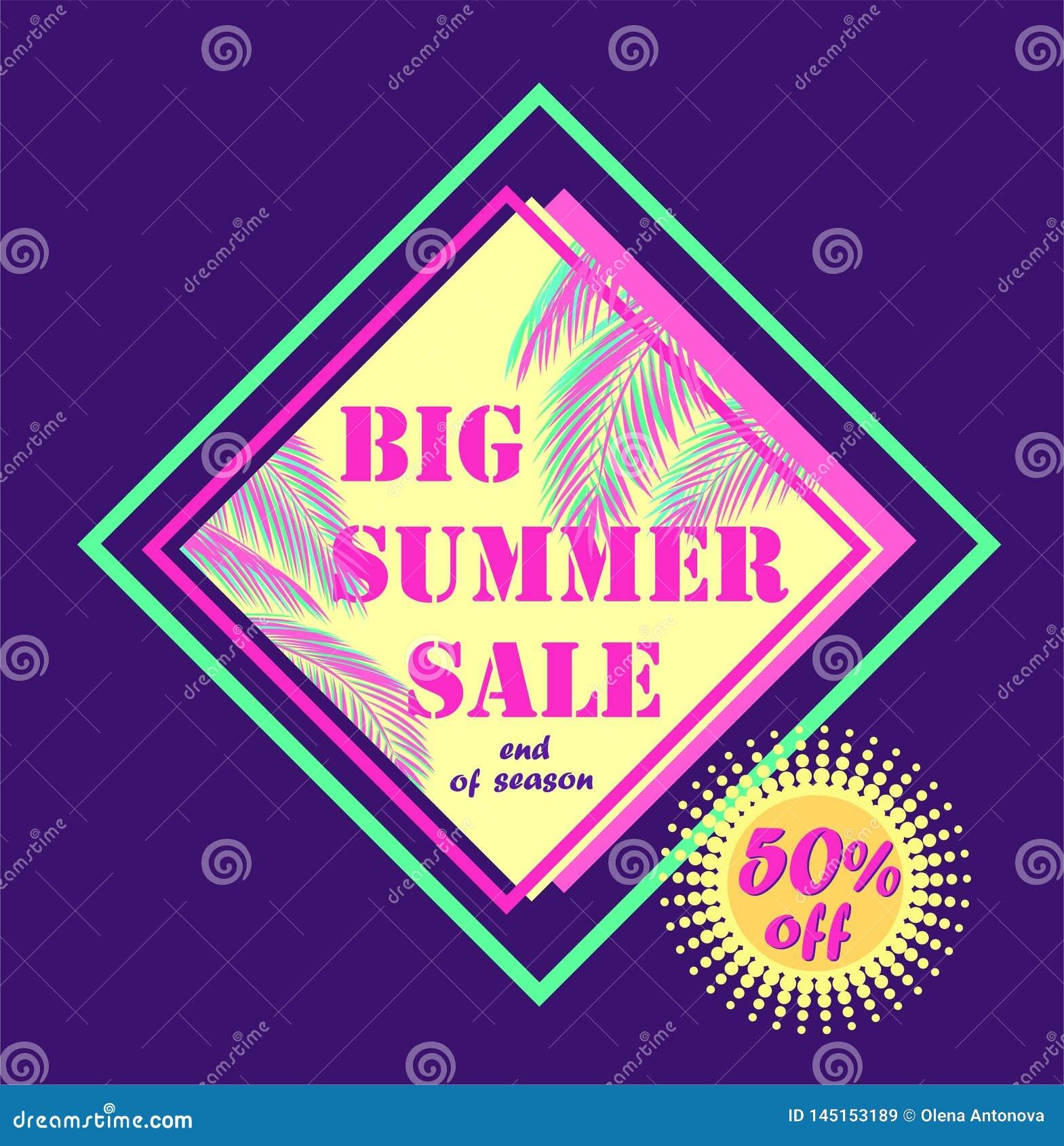 Etiqueta roxa do desconto para a venda grande do verão com folhas de palmeira da cor do rosa e da hortelã
