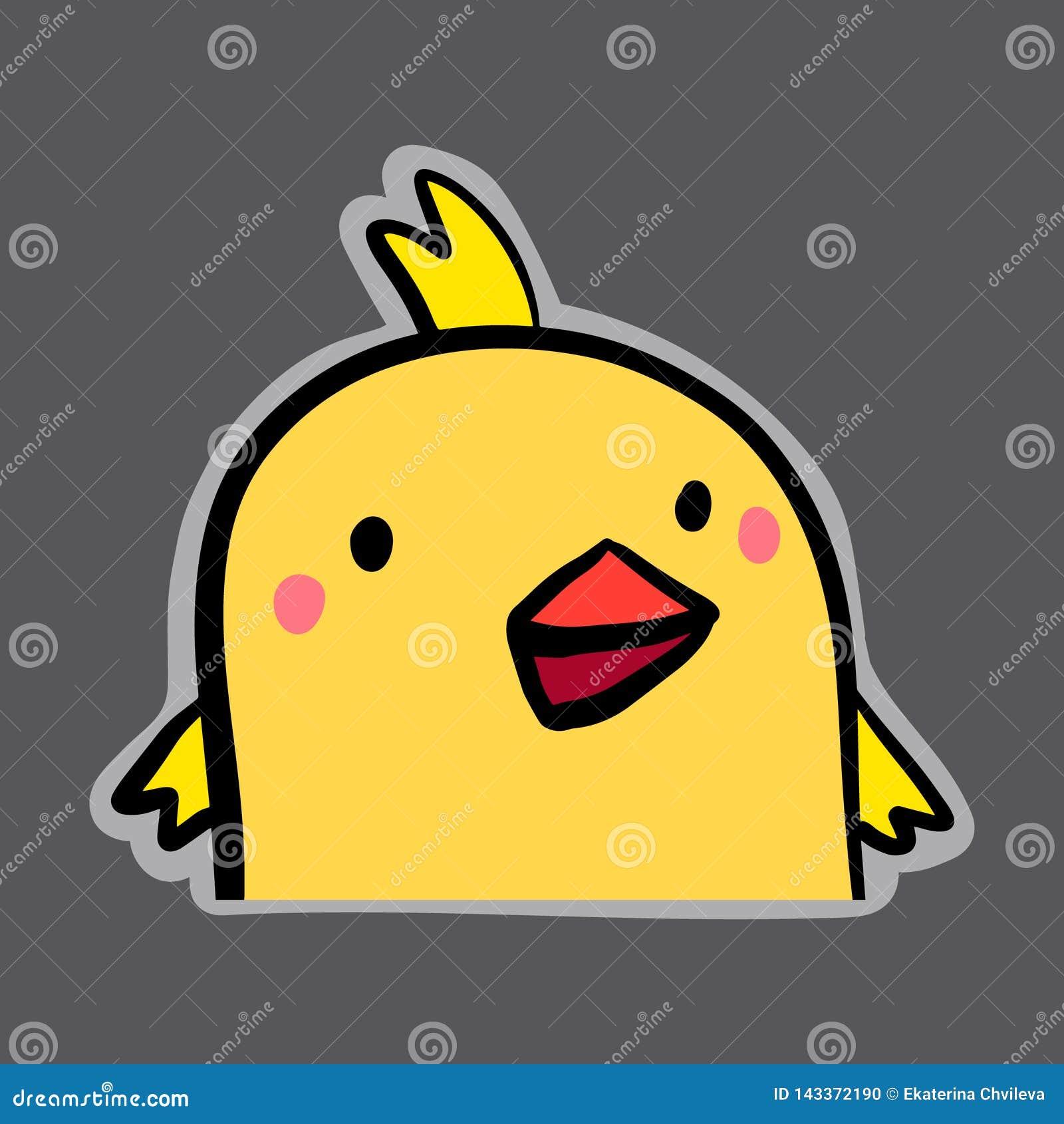 Etiqueta tirada da galinha mão amarela bonito no estilo dos desenhos animados