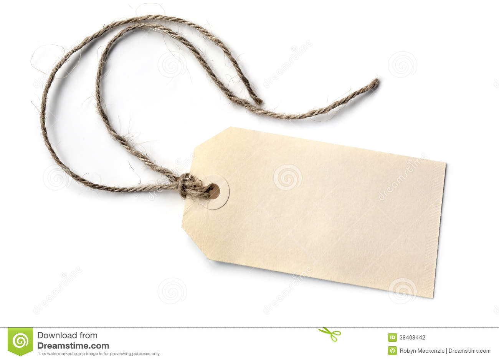 Etiqueta vazia com a corda isolada