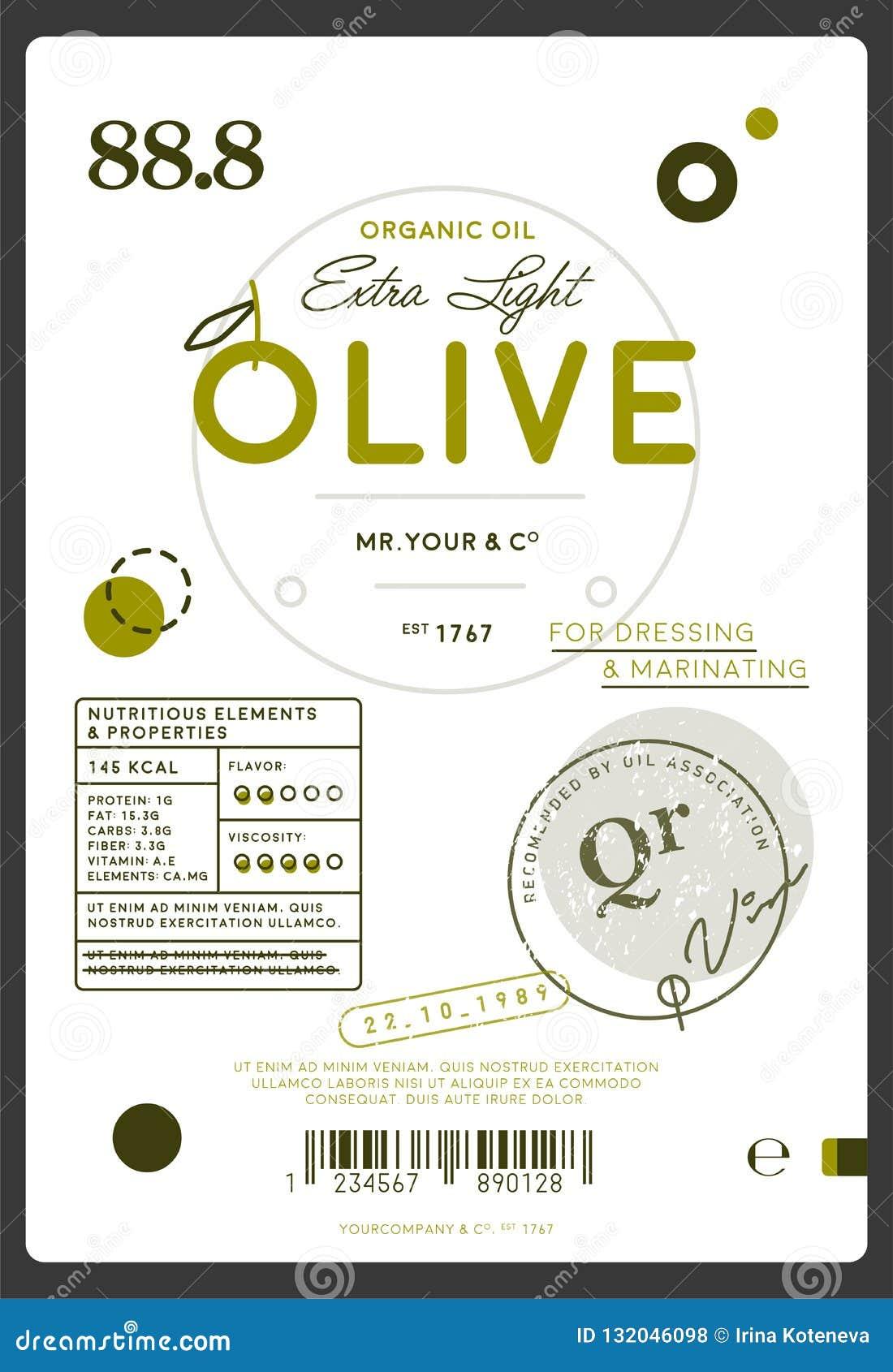 Etiqueta virgem extra do azeite da qualidade superior