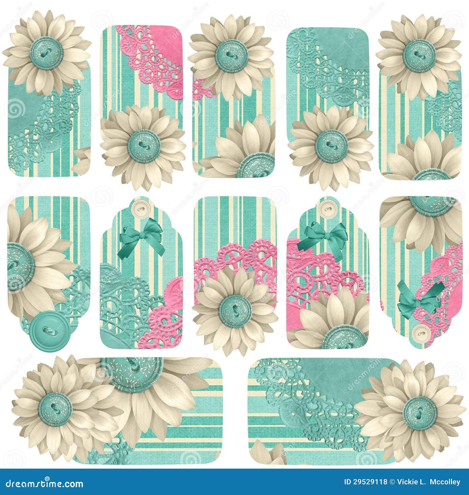 Etiquetas abstratas do presente do botão da flor de papel
