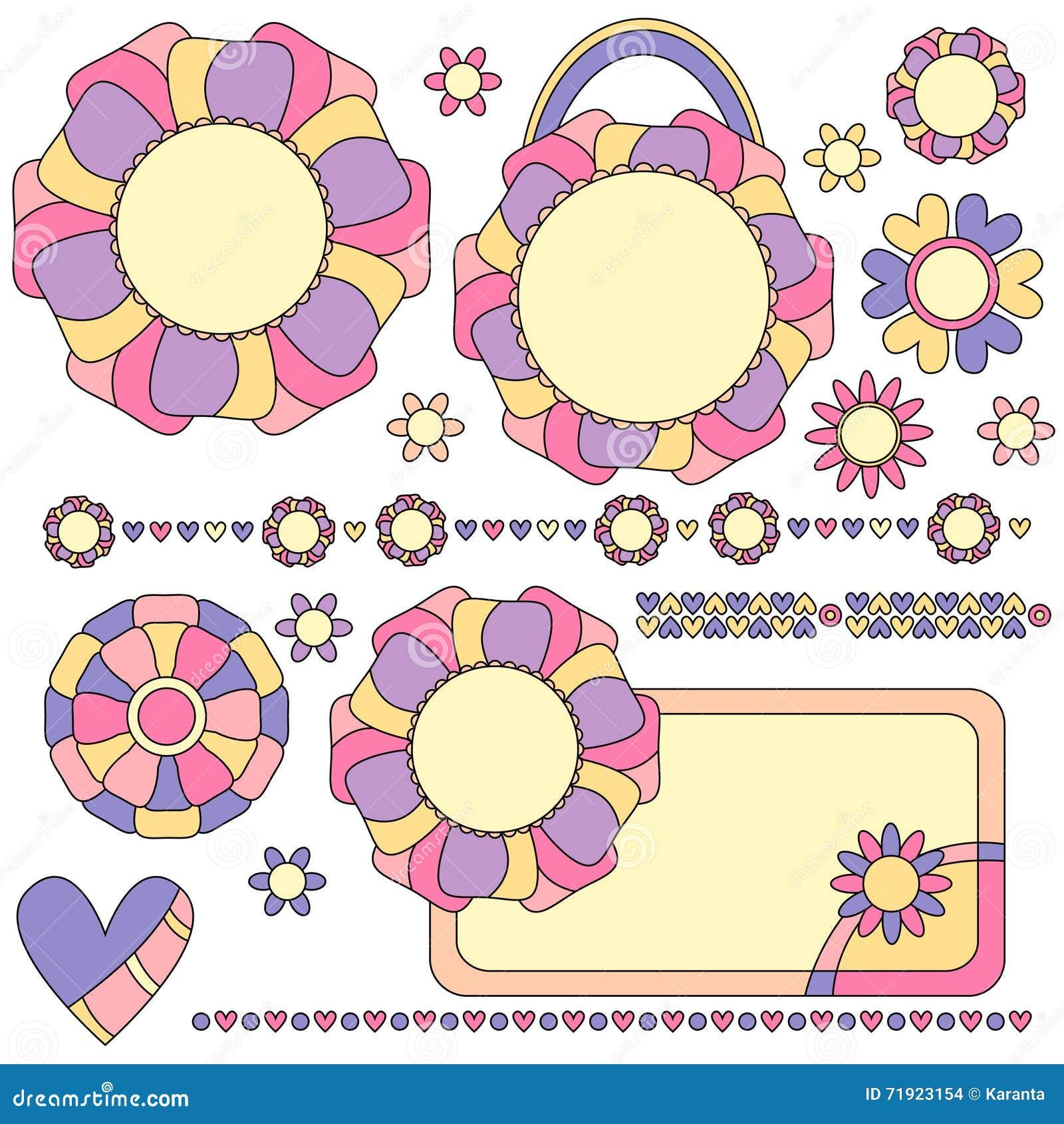 Etiquetas, ajustes y decoraciones coloridos con las flores y los corazones