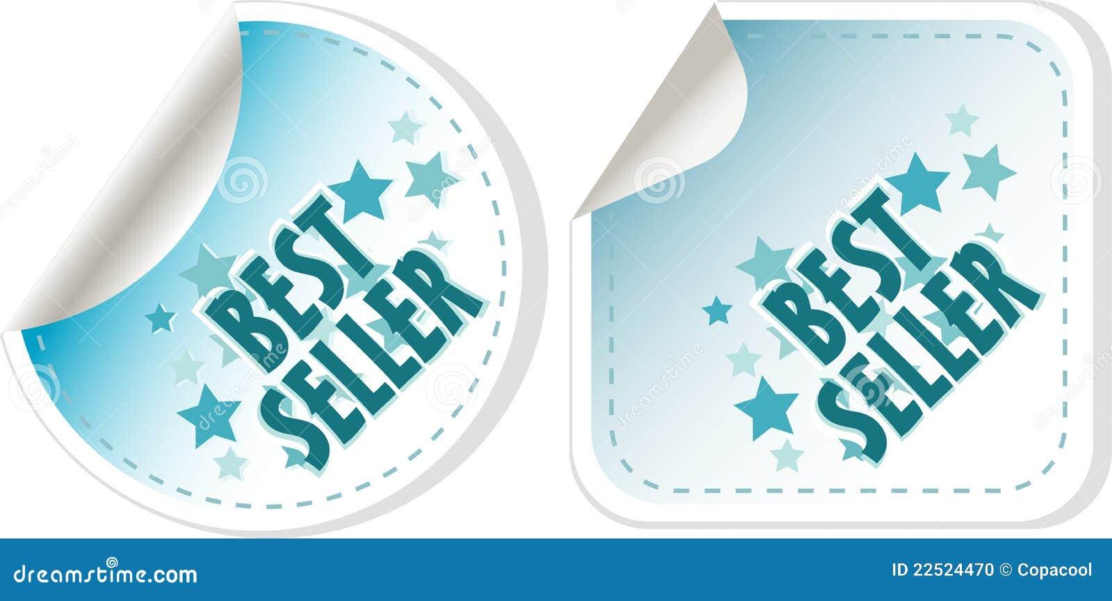 Etiquetas azuis do melhor vendedor ajustadas. etiqueta do vetor