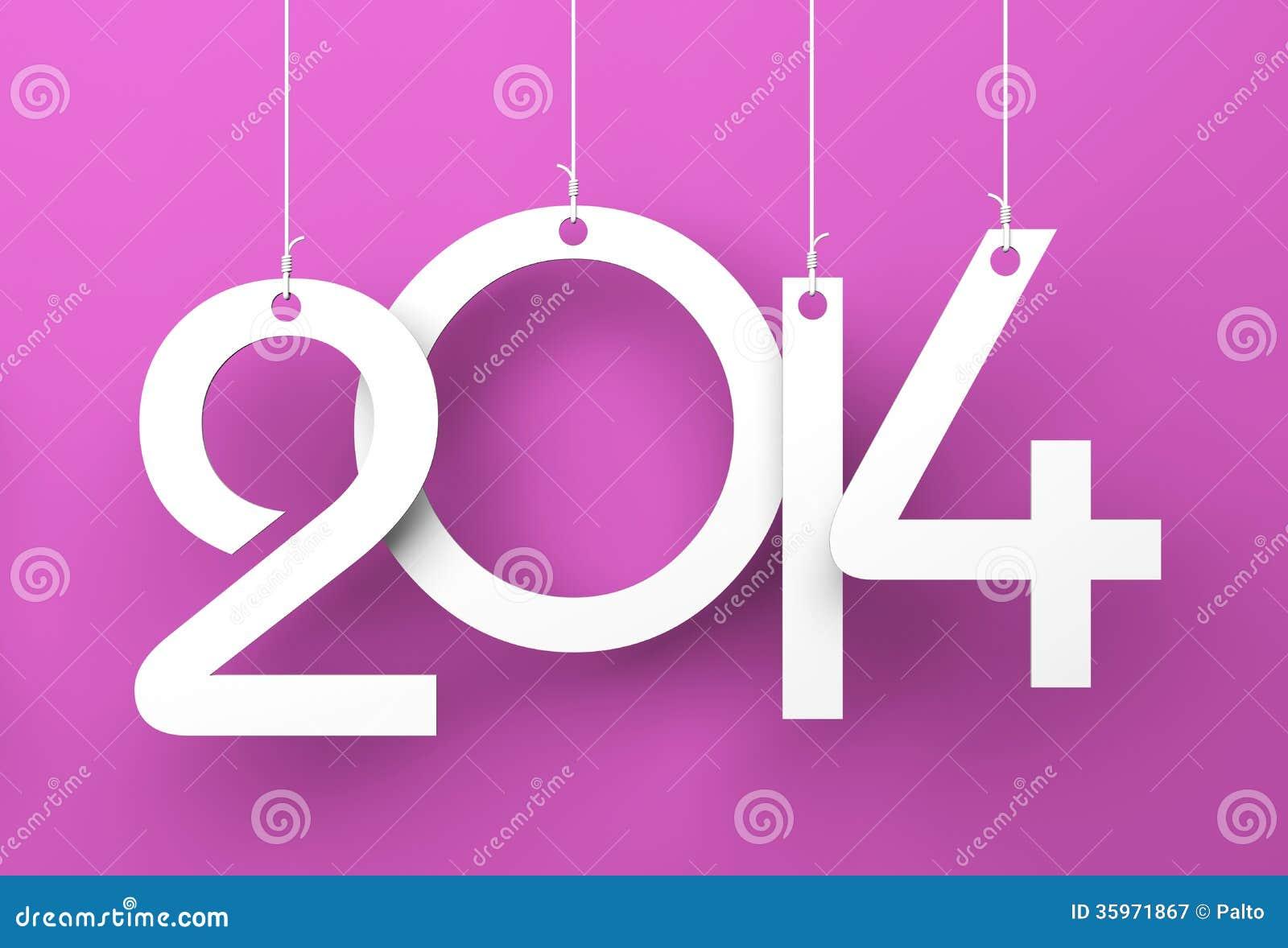 Etiquetas blancas con 2014 en fondo púrpura