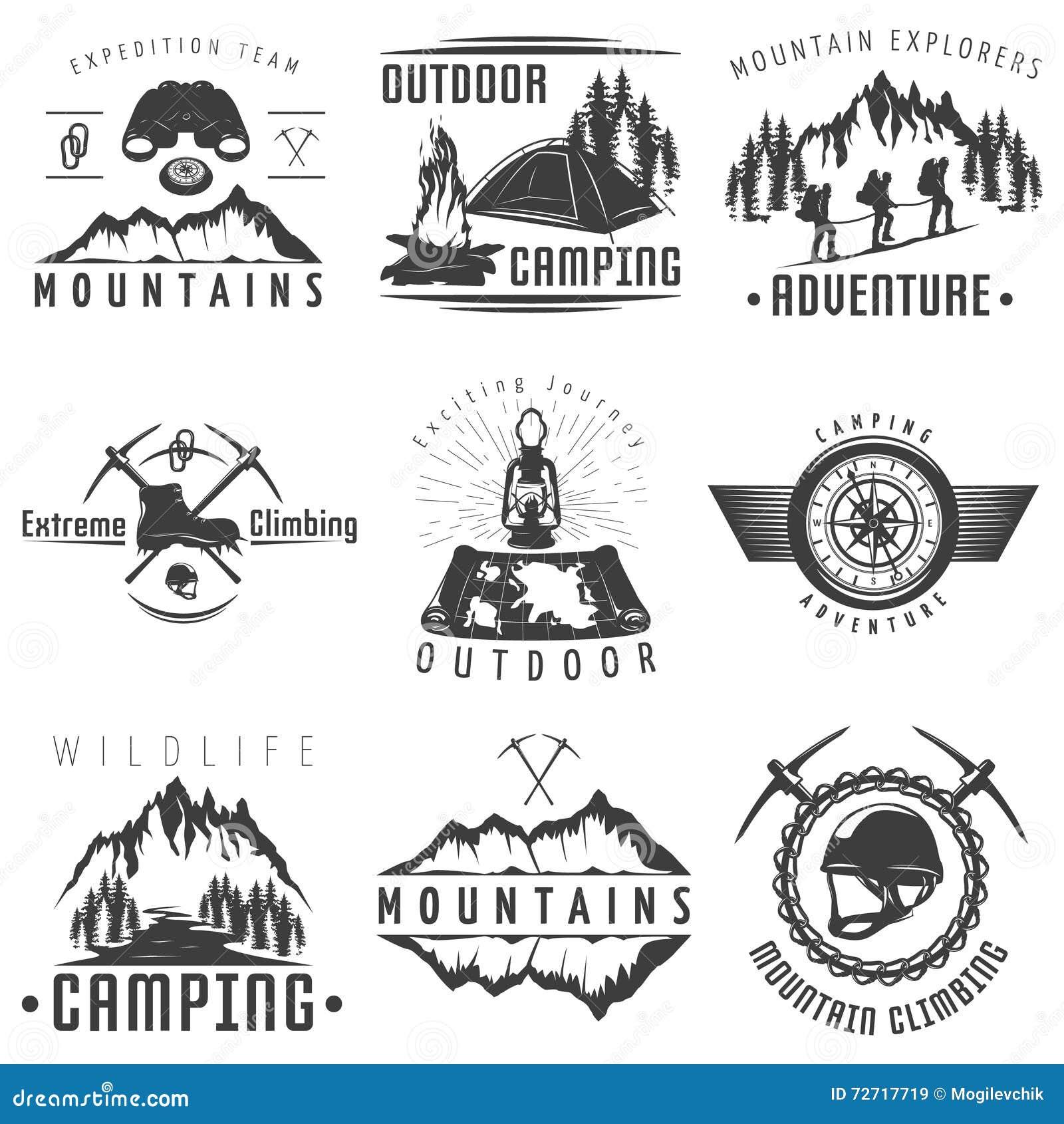Etiquetas blancas negras de las montañas