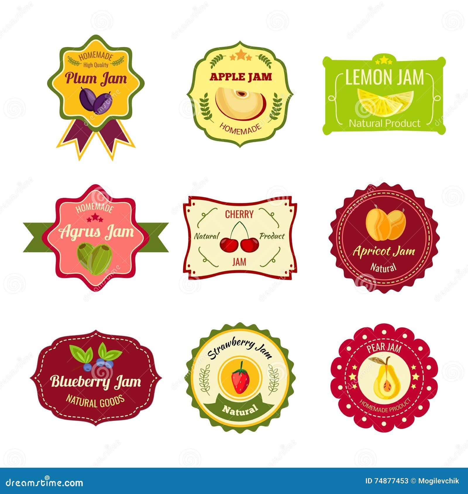 Etiquetas coloridas do doce natural