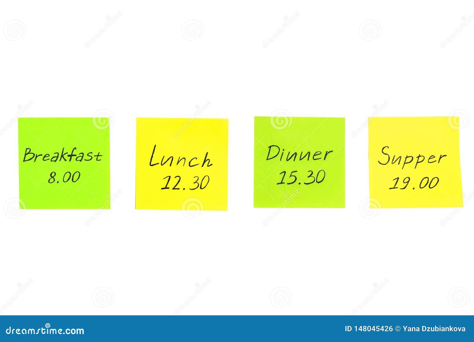 Etiquetas coloridos com notas Caf? da manh?, almo?o, jantar
