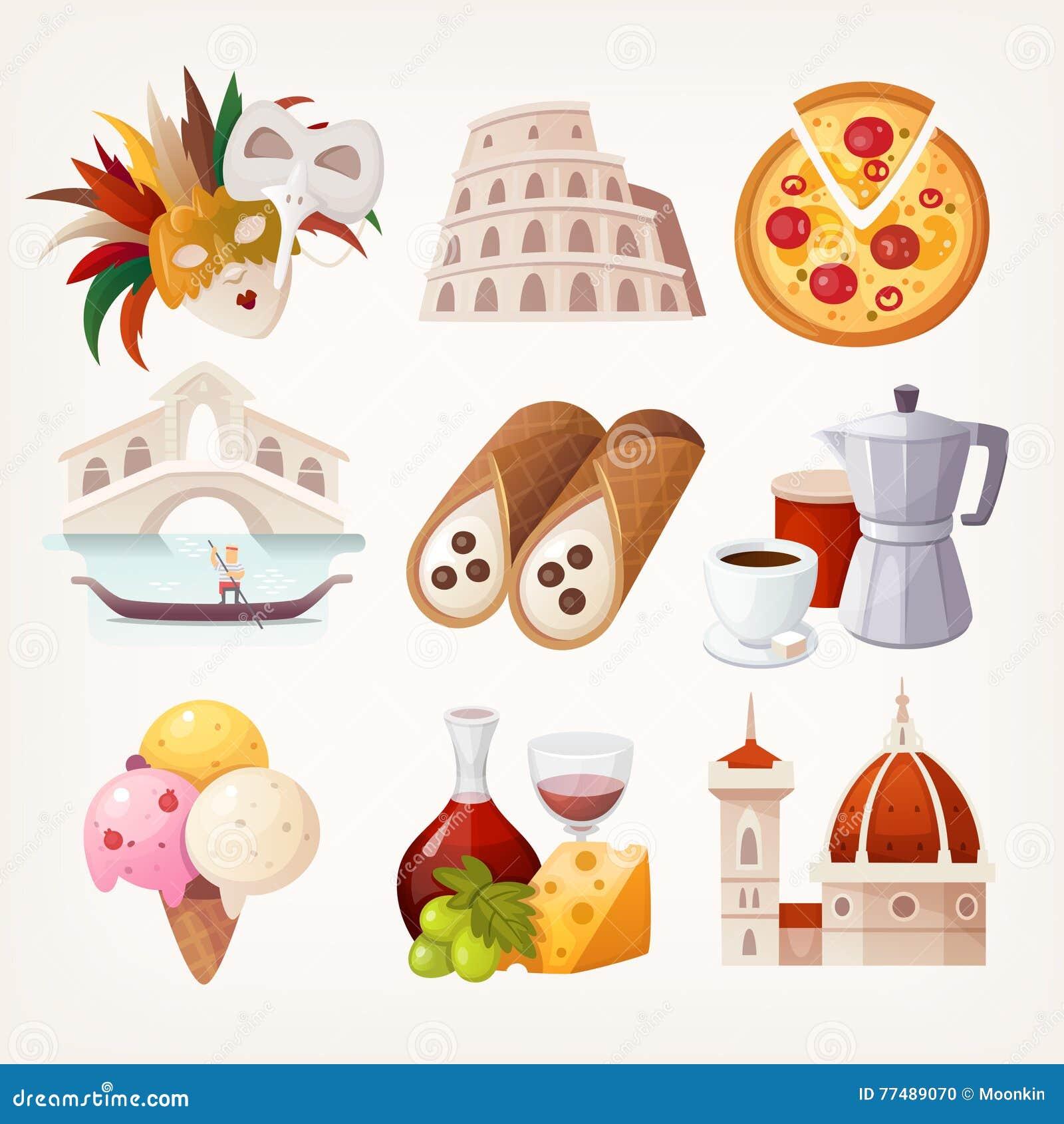Etiquetas com vistas e alimento famoso de Itália
