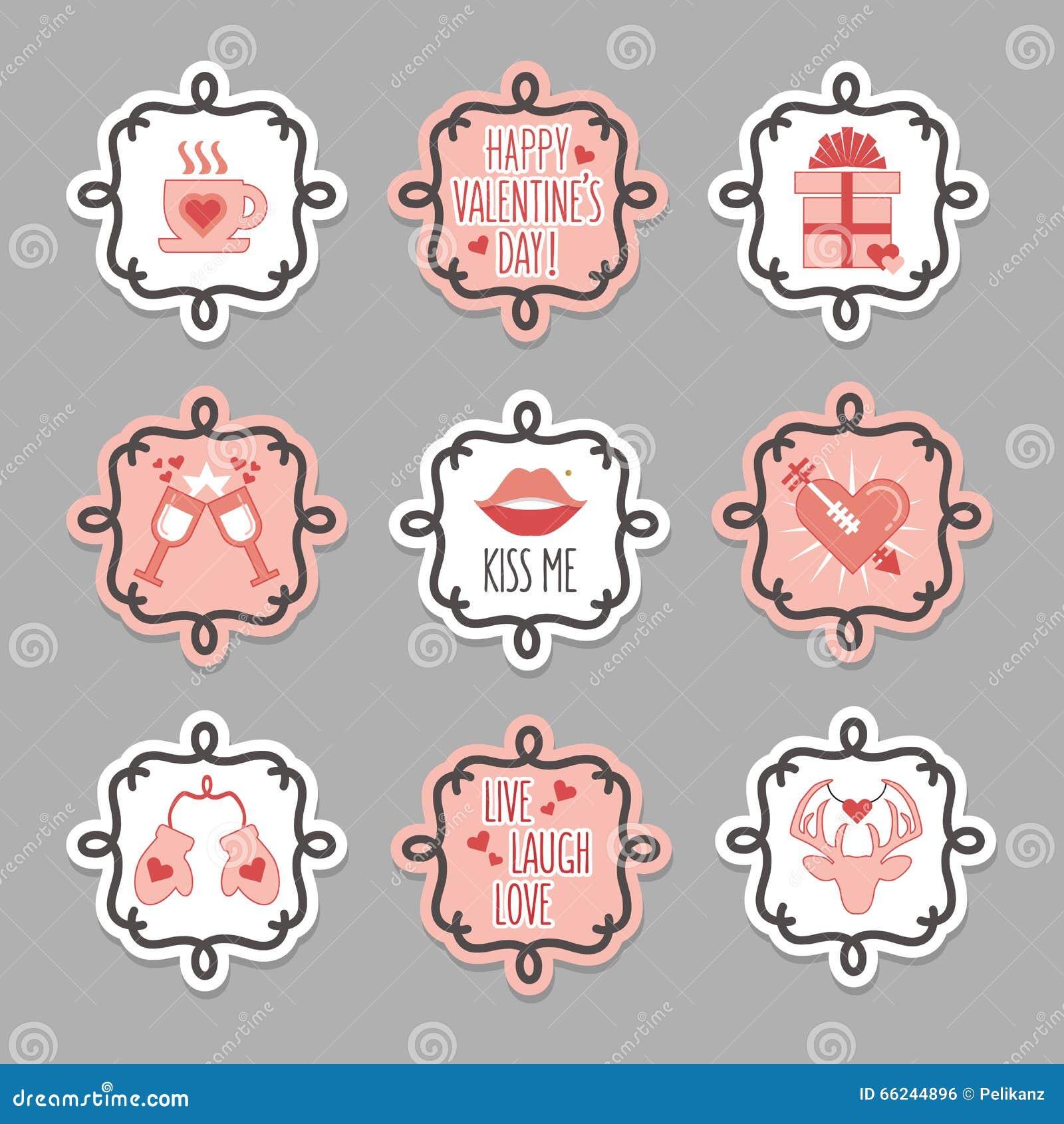Etiquetas cor-de-rosa e brancas bonitos do dia do amor e de Valentim ajustadas
