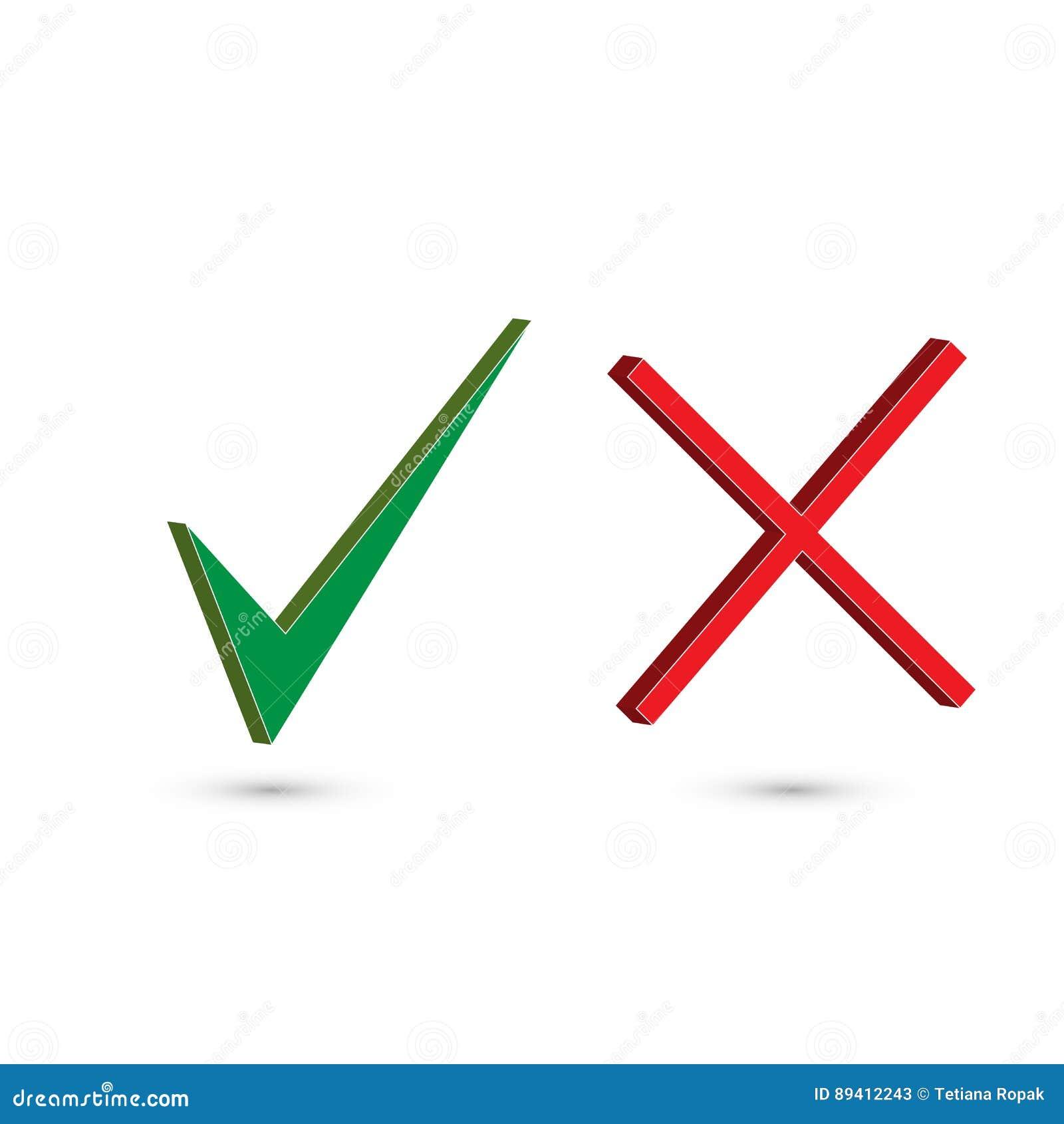 Etiquetas da marca de verificação grupo de dois botões simples da Web: marca de verificação verde e cruz vermelha Símbolos SIM e