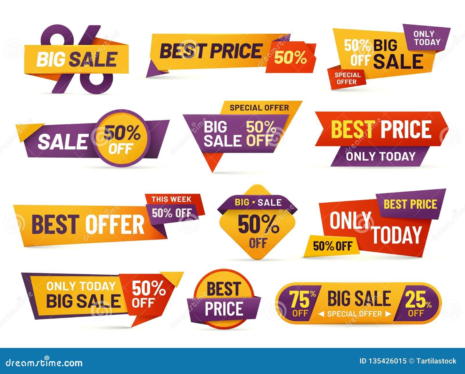 Etiquetas da venda a retalho Inseto barato do preço, o melhor preço de oferta e coleção isolada do vetor do crachá da etiqueta de