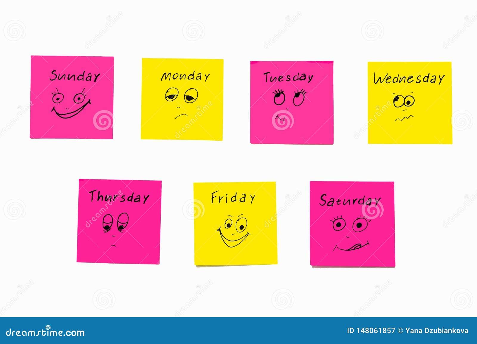 Etiquetas das notas para lembrar os dias da semana Notas engraçadas com as emoções pintadas, refletindo os dias da semana Segunda