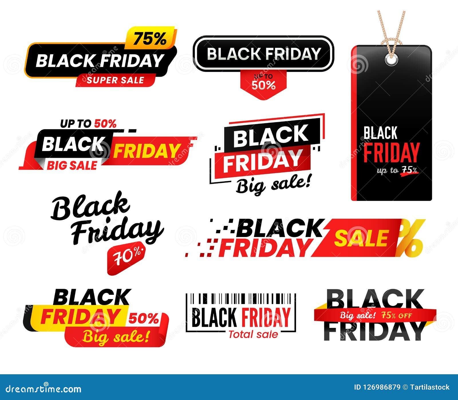 Etiquetas de Black Friday La etiqueta engomada de la venta para las ventas de viernes de la acción de gracias, etiqueta de las et