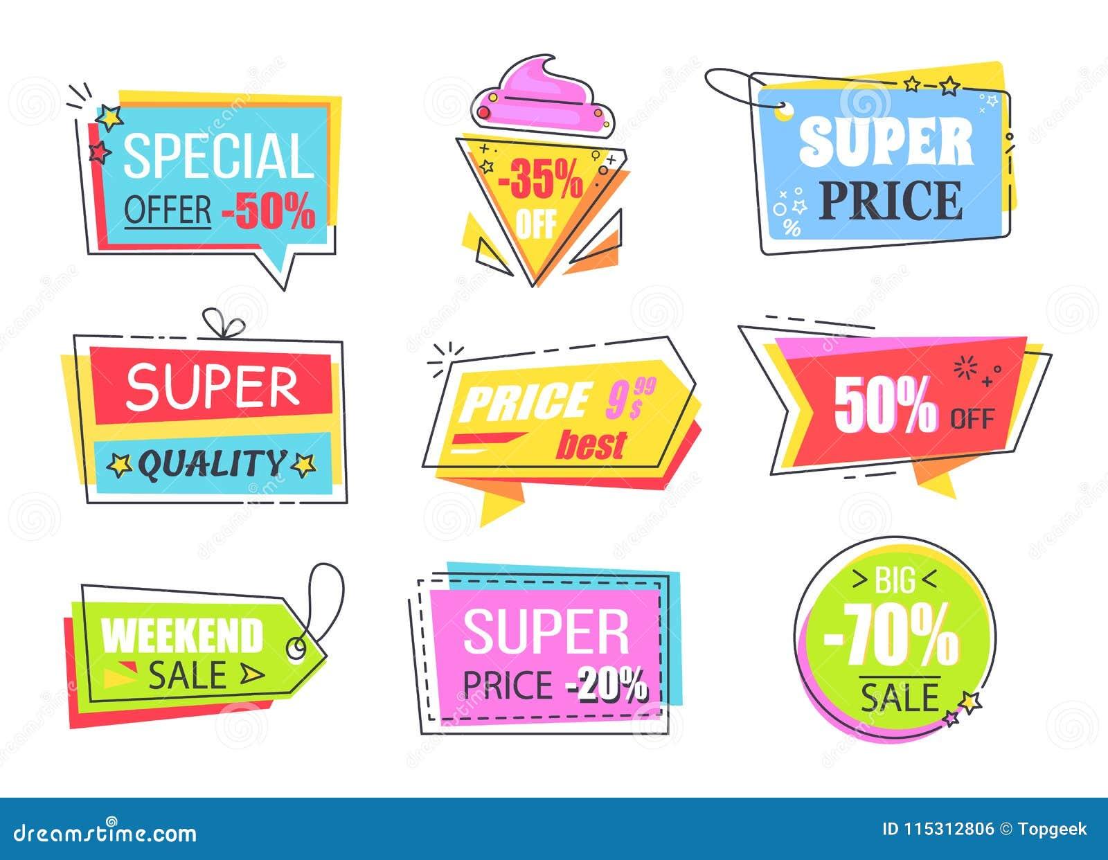 Etiquetas De La Oferta Especial Con La Media Reducción De Precio  Ilustración del Vector - Ilustración de conjunto, producto: 115312806