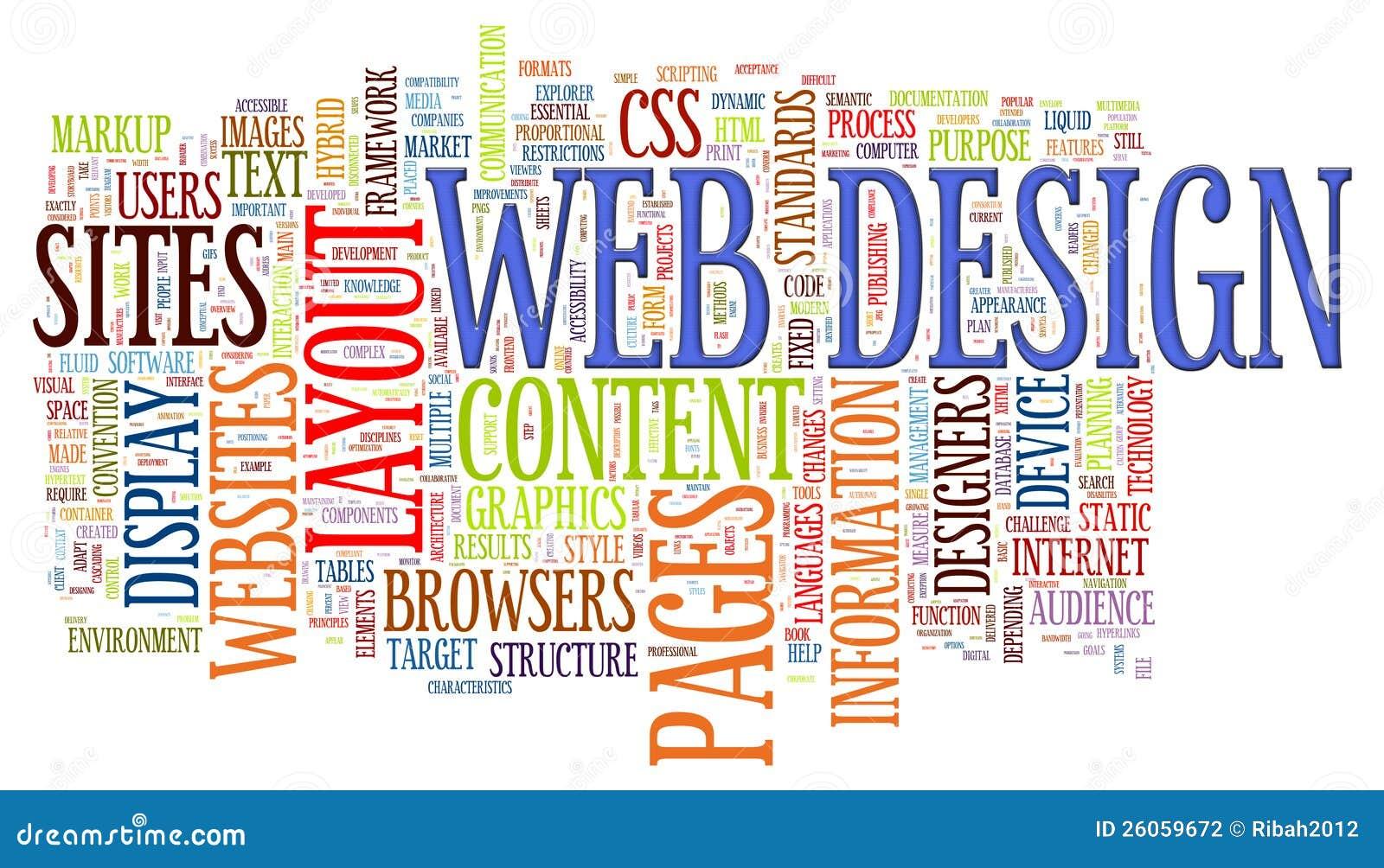 Etiquetas de la palabra del diseño de Web