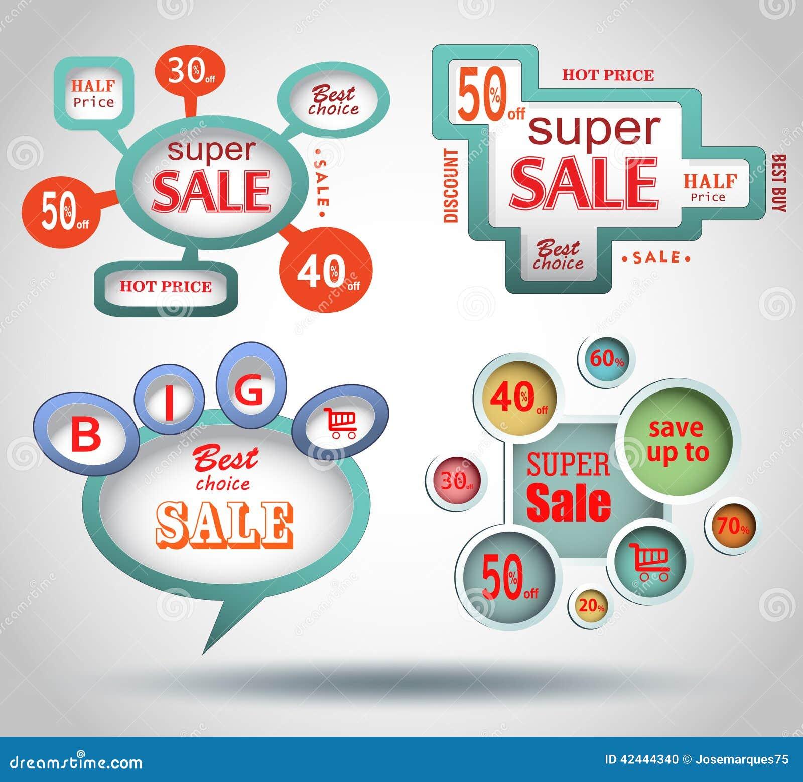 Etiquetas de la venta del vector
