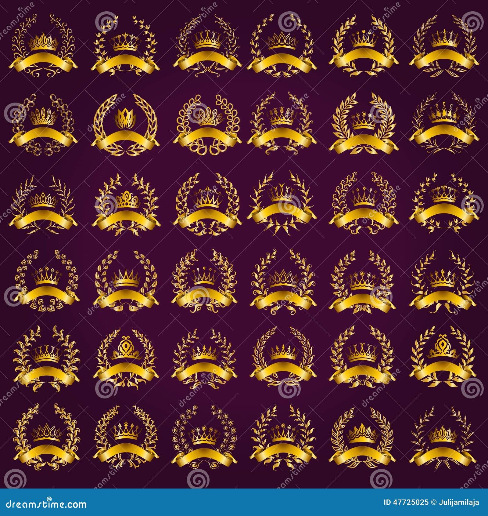 Etiquetas de lujo del oro con la guirnalda del laurel