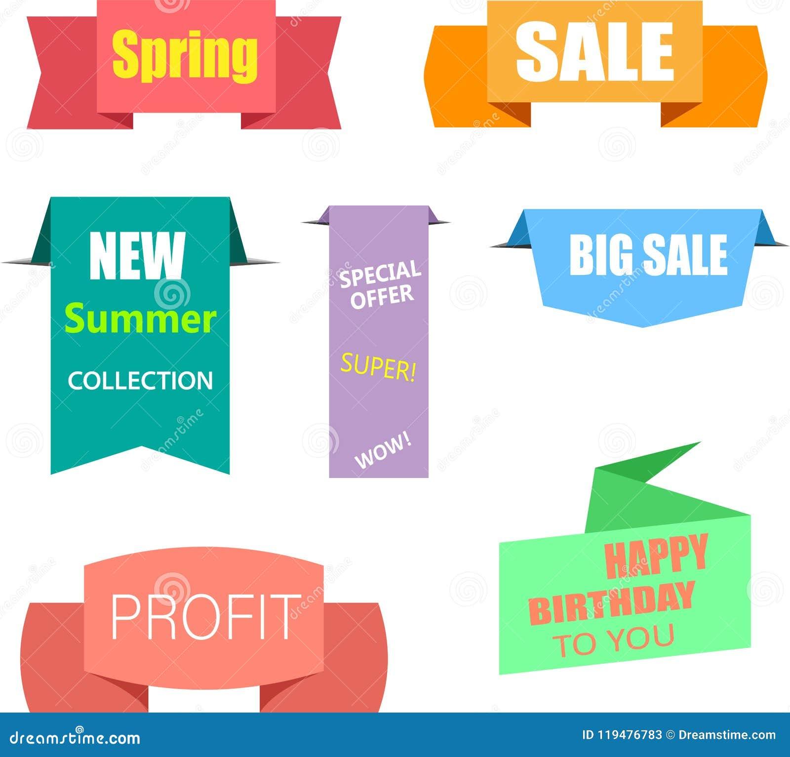 Etiquetas de papel coloridas de las compras de la venta aisladas en blanco