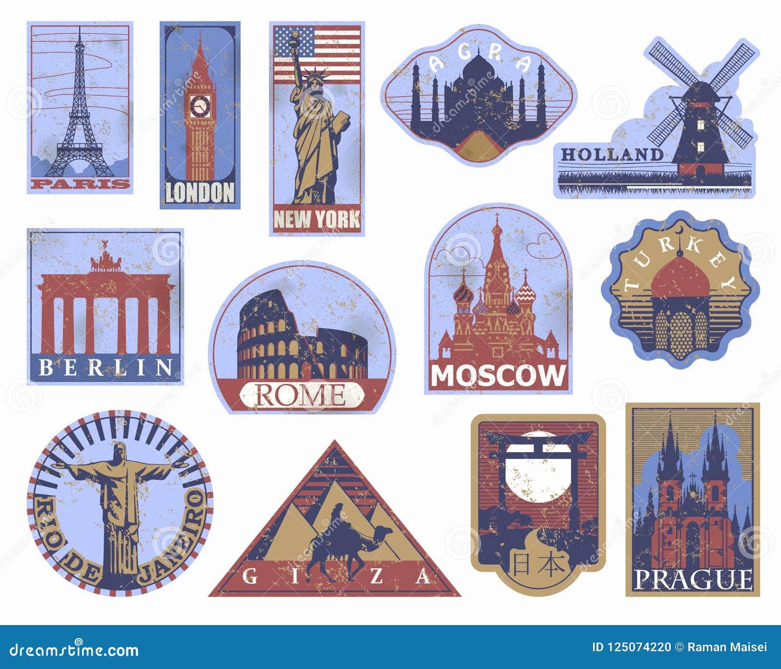 Etiquetas de papel del viaje de las señales del vintage Etiquetas engomadas del viaje: París
