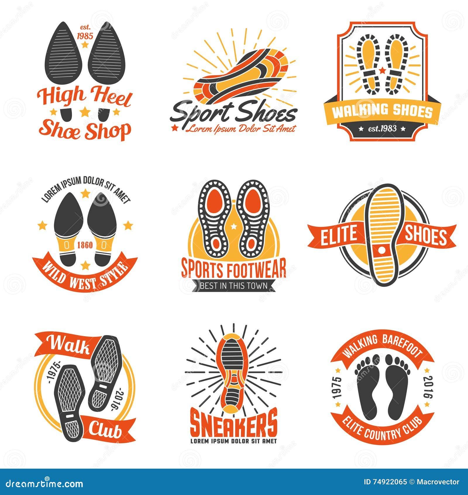 Etiquetas Del Calzado Con Los Iconos De Las Huellas Fijados ...