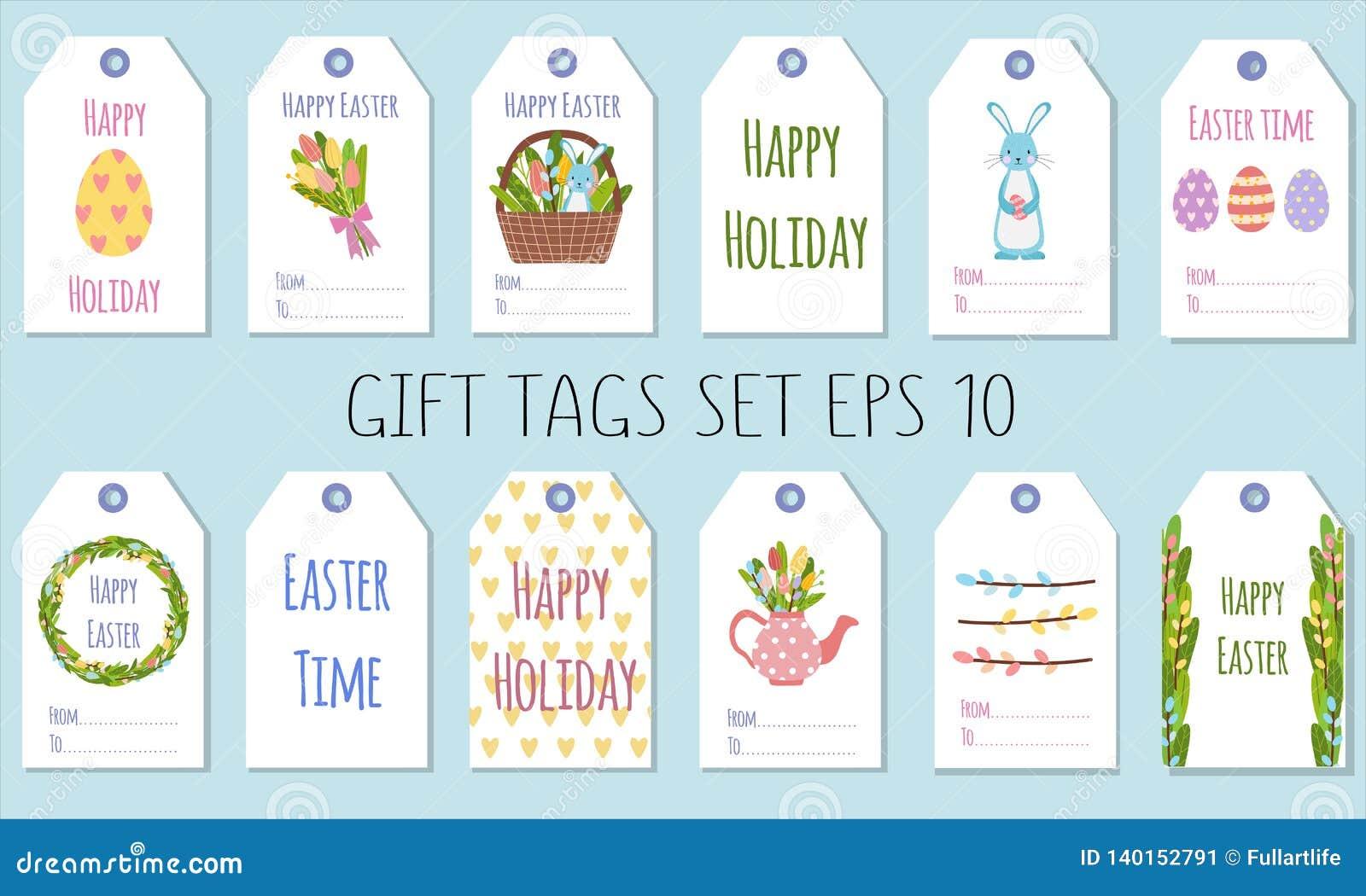 Etiquetas del regalo para el día de fiesta de Pascua Adornamiento de los regalos con los elementos de la primavera
