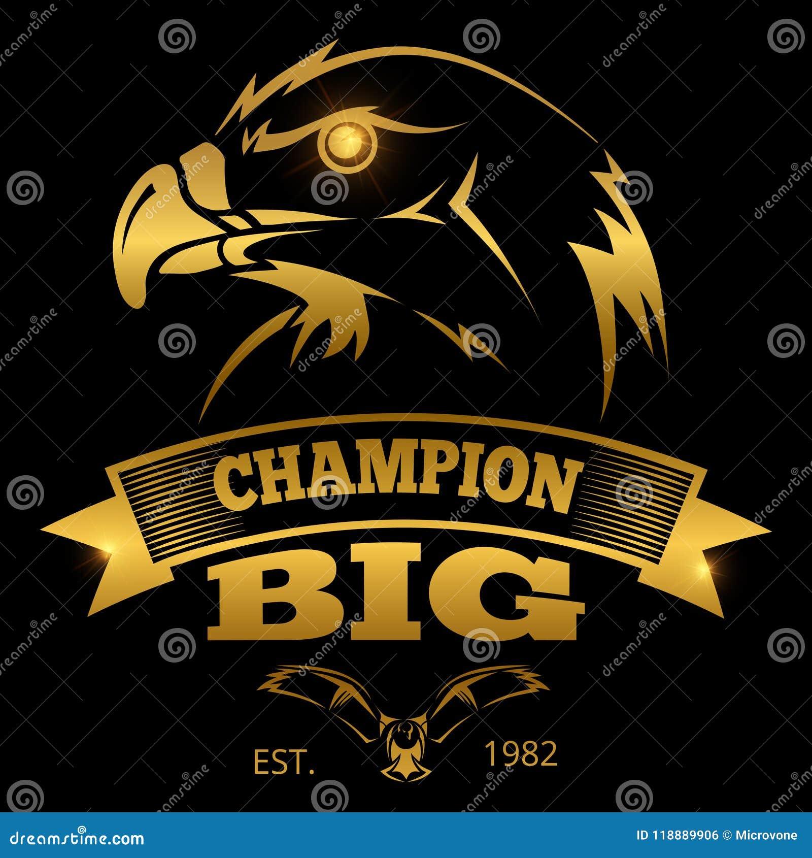 Etiquetas del vector de la heráldica de Eagle, logotipos, emblemas Diseño de la muestra del águila de oro