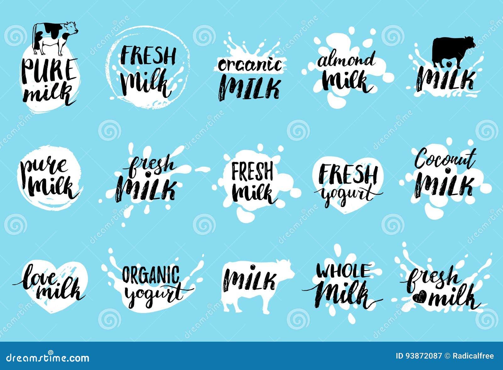 Etiquetas dibujadas mano de la leche del vector Muestras fijadas para la producción de lechería Marca la colección con etiqueta p
