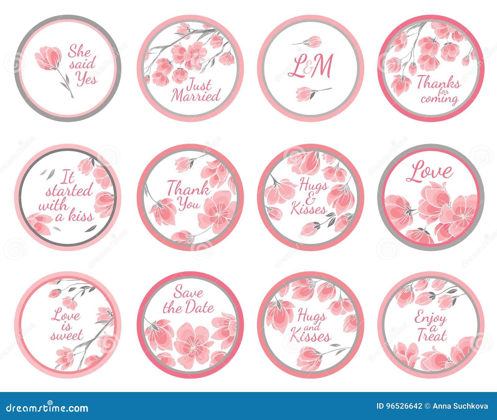 Etiquetas do cumprimento do vetor do molde - presente de casamento para o convidado