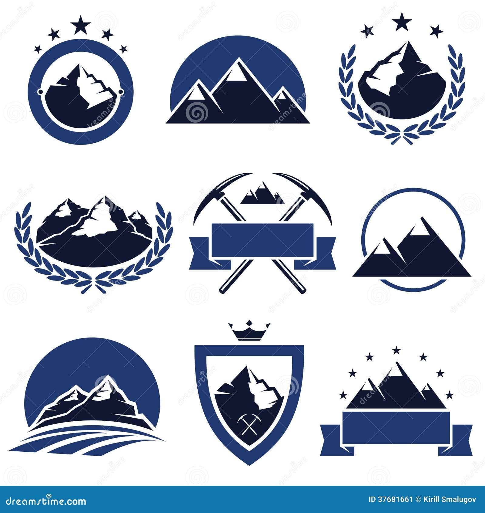 Etiquetas e iconos de la montaña fijados. Vector