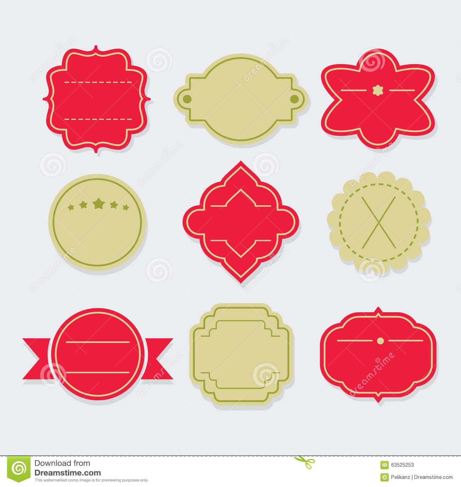 Etiquetas Elegantes Y Etiquetas Vacías Rojas Y Verdes De La ...