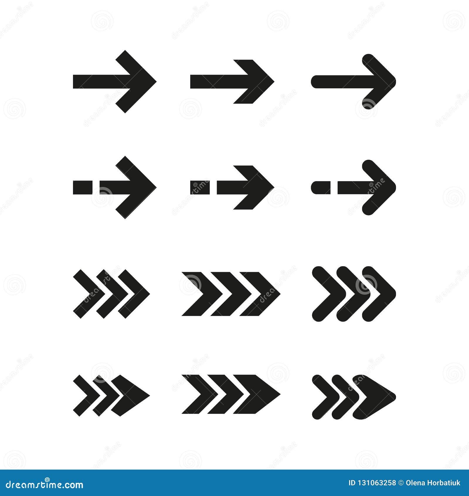 Etiquetas engomadas de la flecha del negro del vector Ilustración del vector