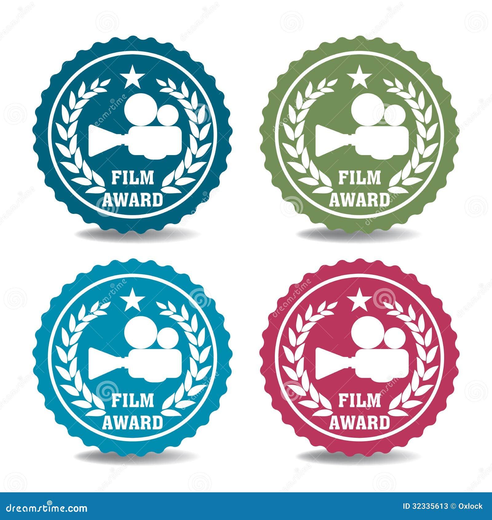 Etiquetas engomadas del premio de la película