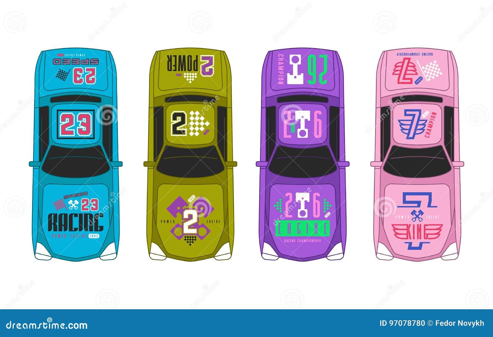 Etiquetas engomadas del vinilo en el coche de carreras