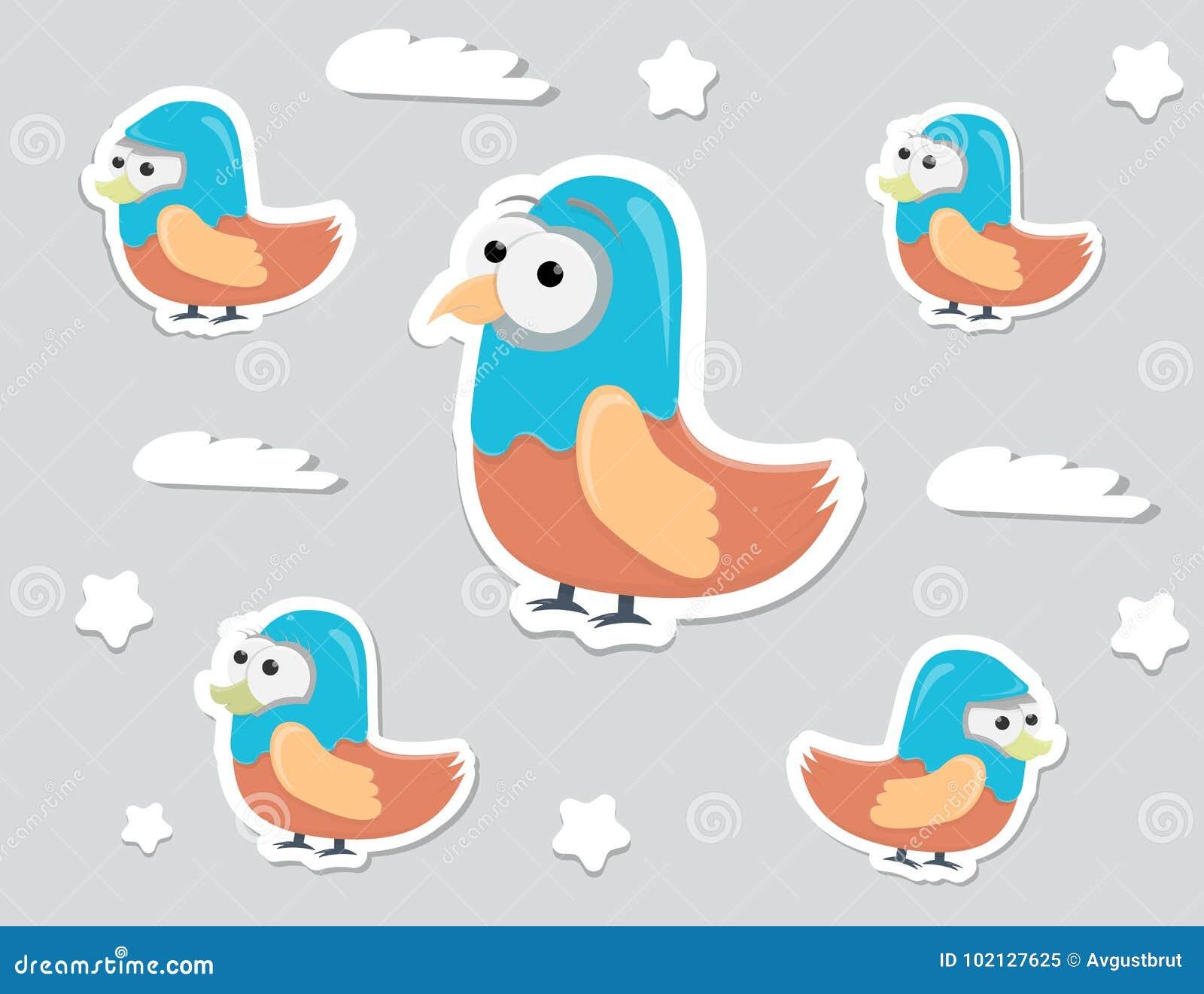 Etiquetas Engomadas Divertidas De Los Pájaros Del Personaje De