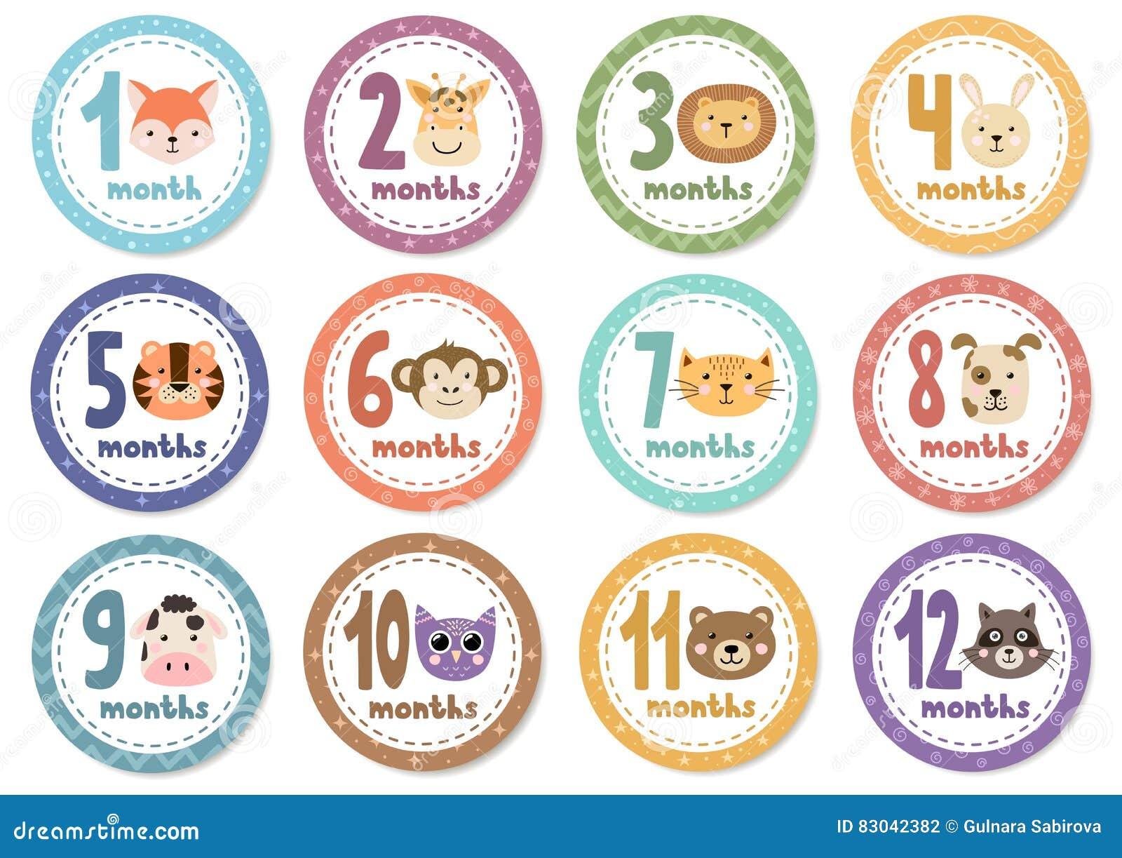 Etiquetas engomadas mensuales del bebé con los animales lindos