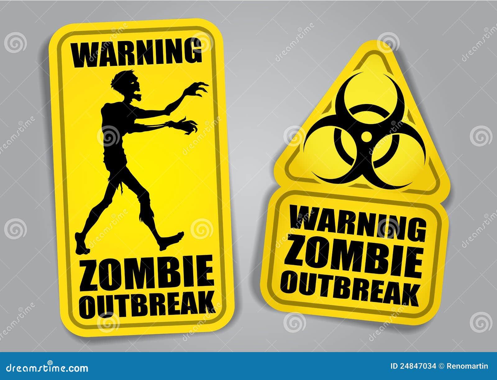 Etiquetas/etiquetas de advertência da manifestação do zombi